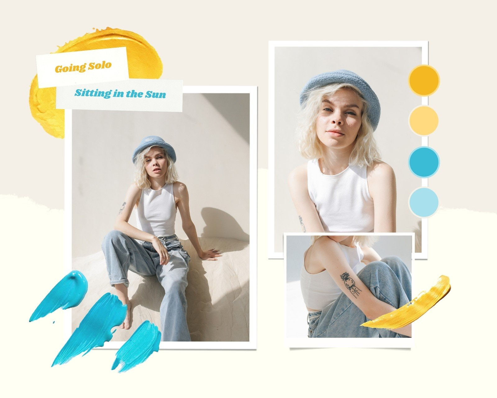 Blue and Yellow Bright and Playful Fashion Moodboard Photo Collage