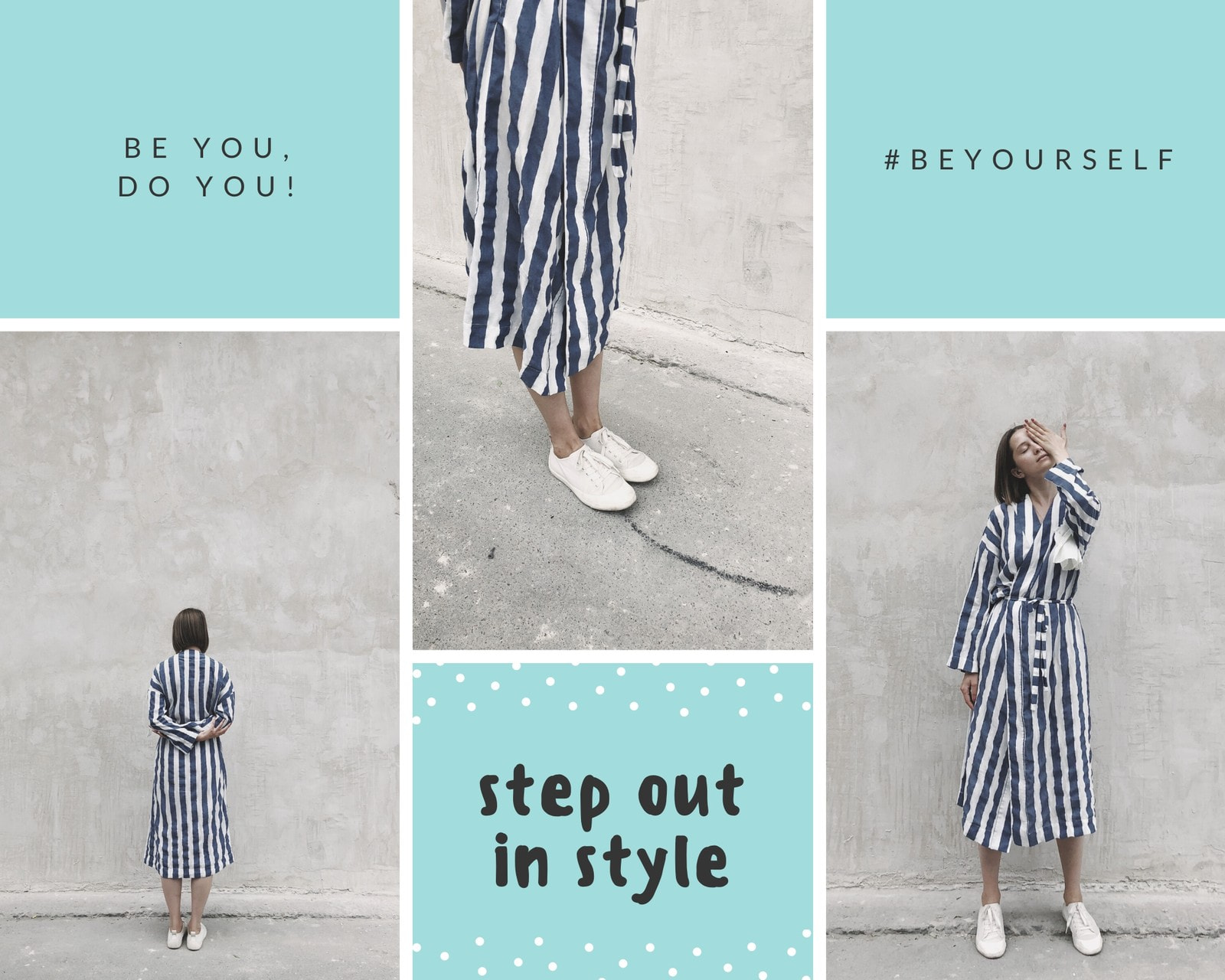 Aqua and White Grid Look of the Day Photo Collage