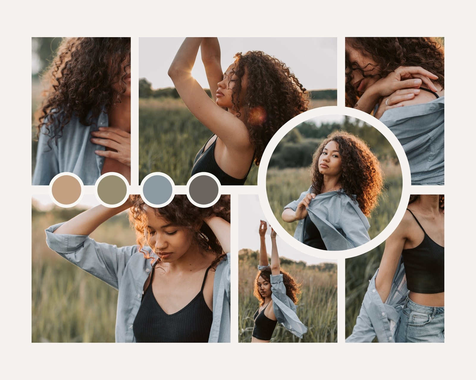 Cool Grey and Brown Clean Grid Fashion Moodboard Photo Collage