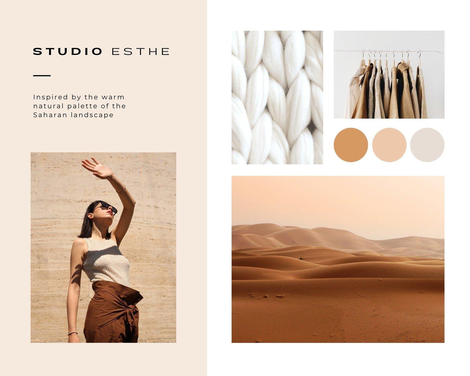 Brown and Peach Clean Grid Fashion Moodboard Photo Collage