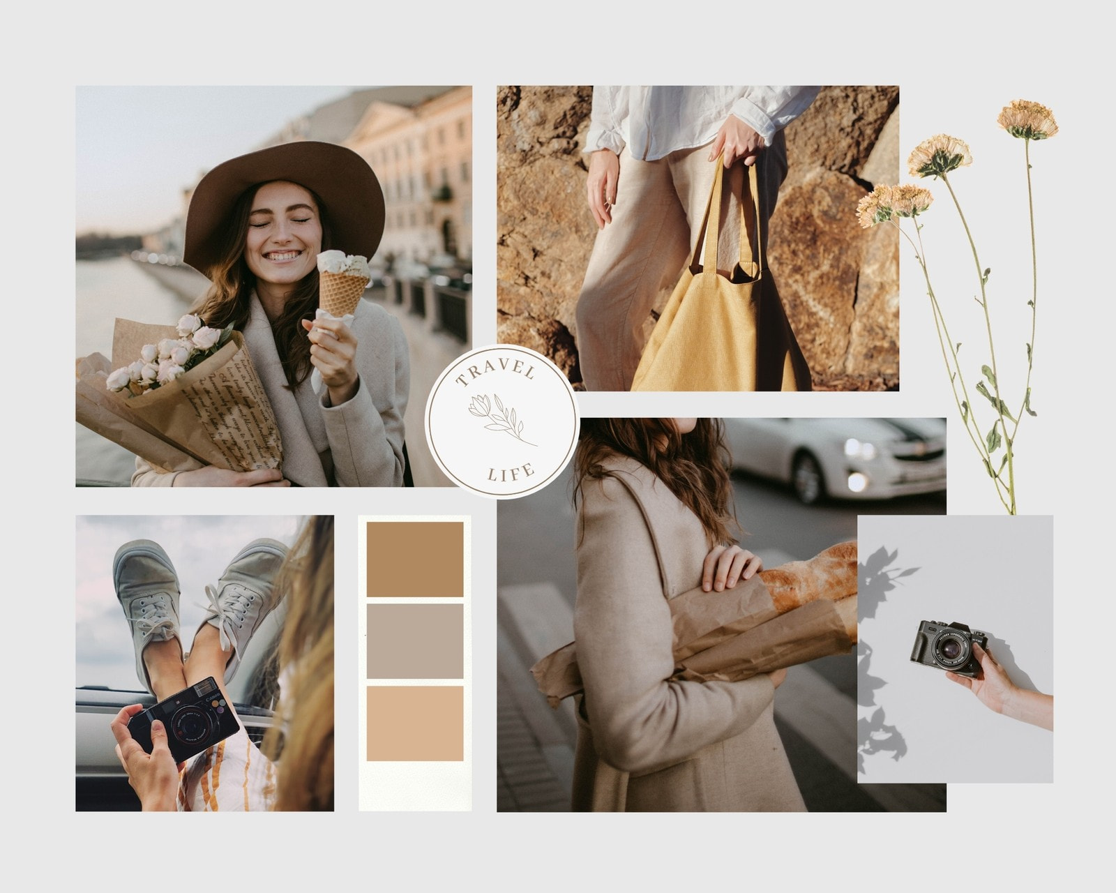 Brown Soft and Dainty Fashion Moodboard Photo Collage