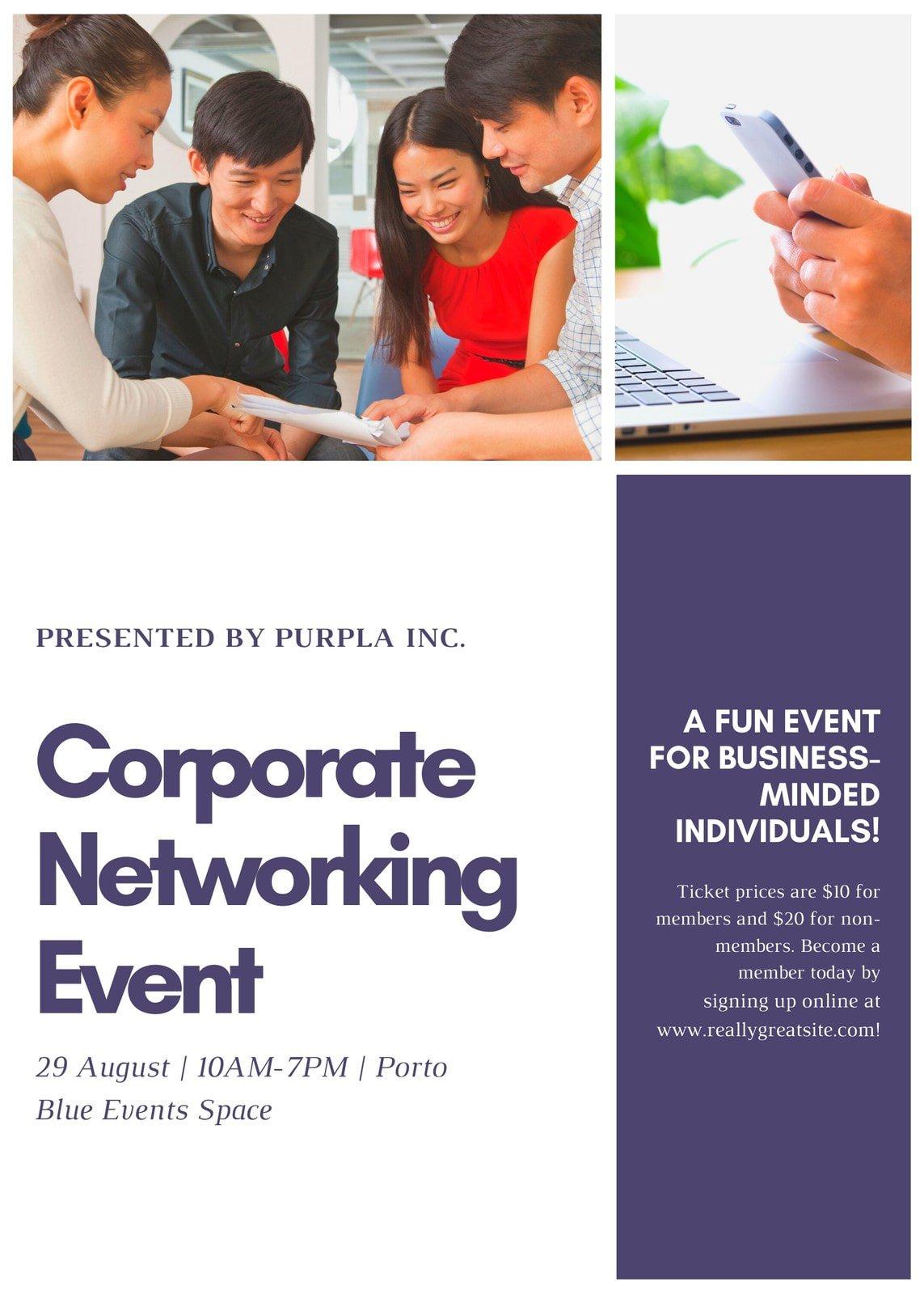 Purple Grid Marketing Promotion Corporate Flyer