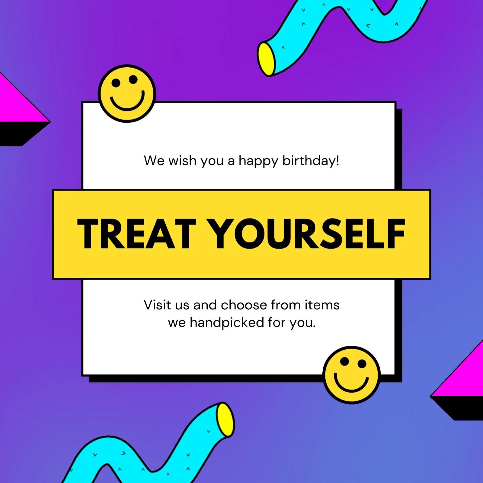 Purple Gradient Bright and Bold Birthday Social Media Post