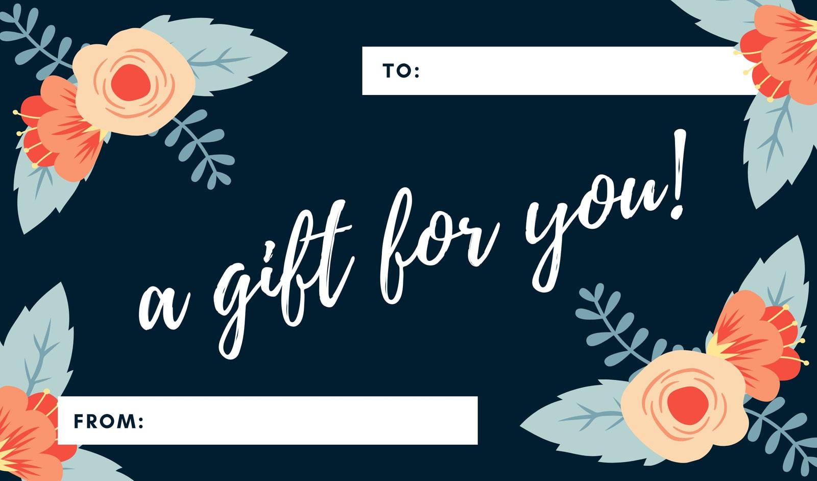 Elegant Dark Blue Floral Gift Tag