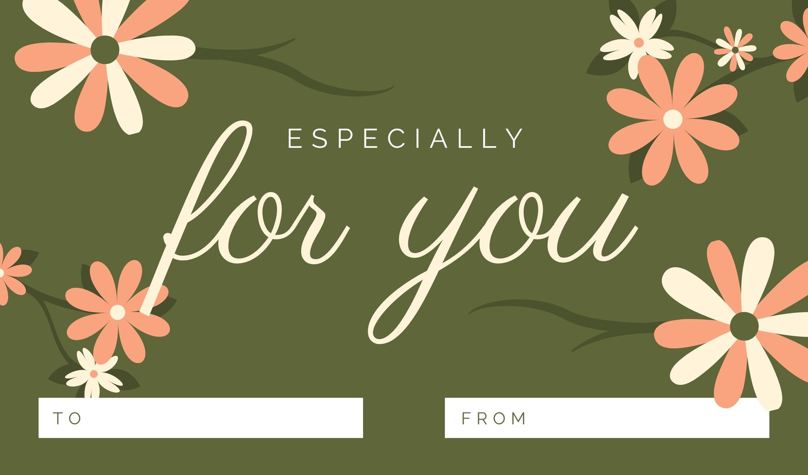 Olive Green Floral Gift Tag