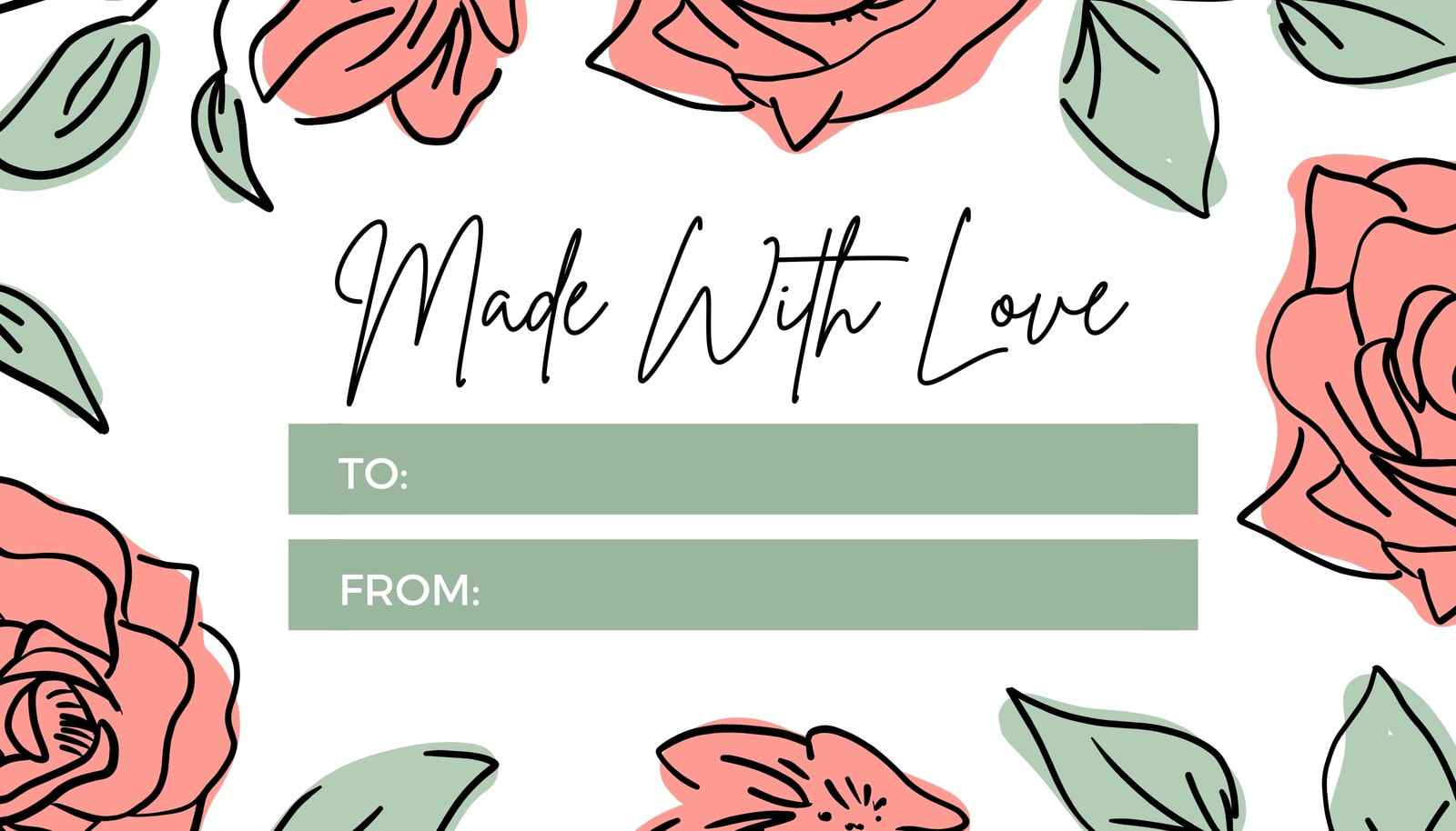 Made With Love Floral Rose Gift Tag