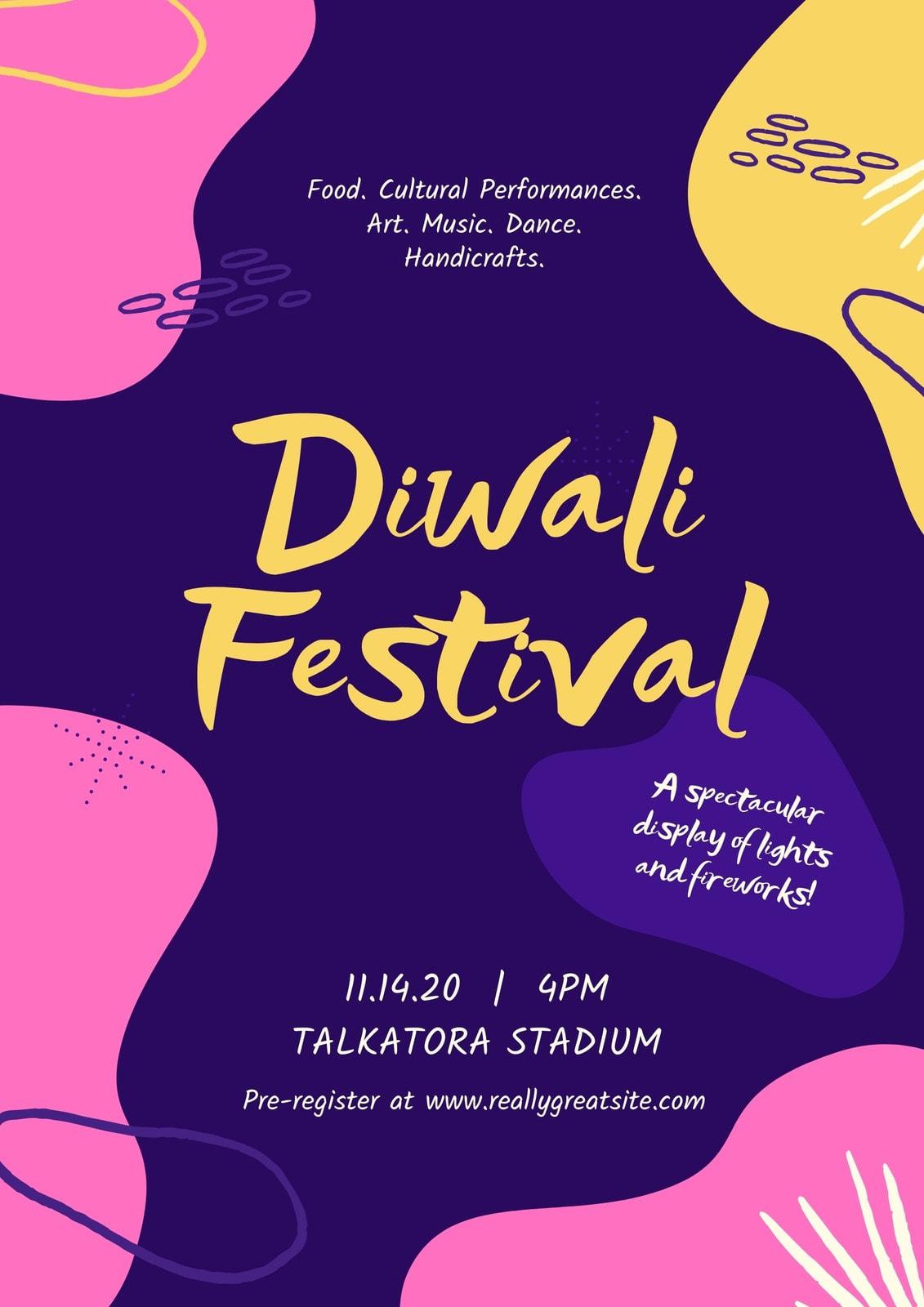 Indigo, Pink, and Yellow Blobs Illustrated Diwali Folded Card