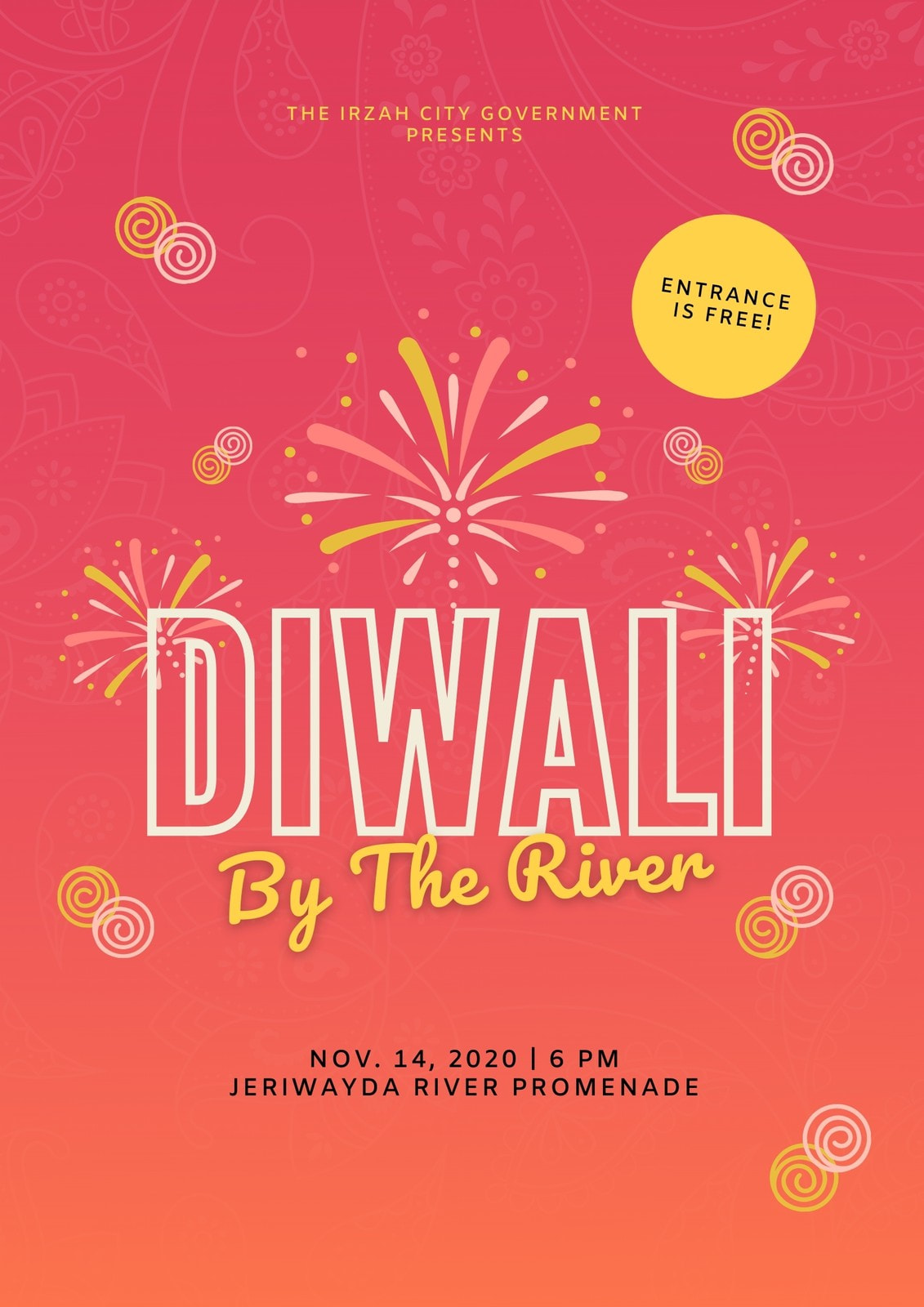 Red and Yellow Fireworks Diwali Poster