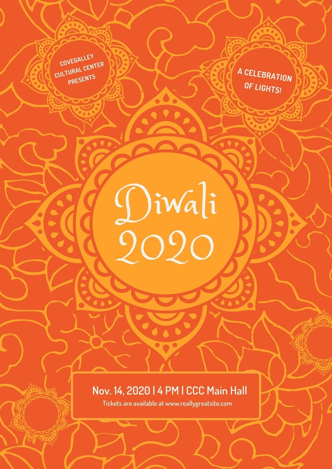 Orange Decorative Diwali Poster