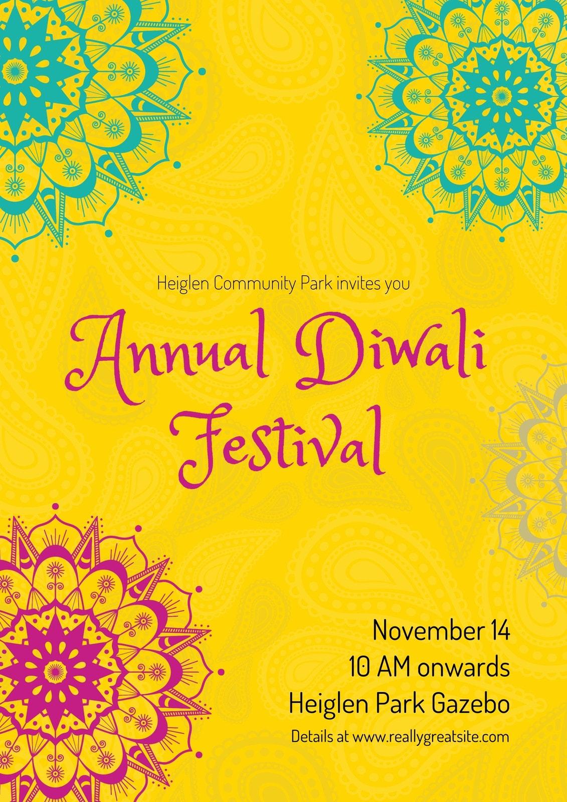 Yellow, Pink and Teal Minimal Diwali Poster