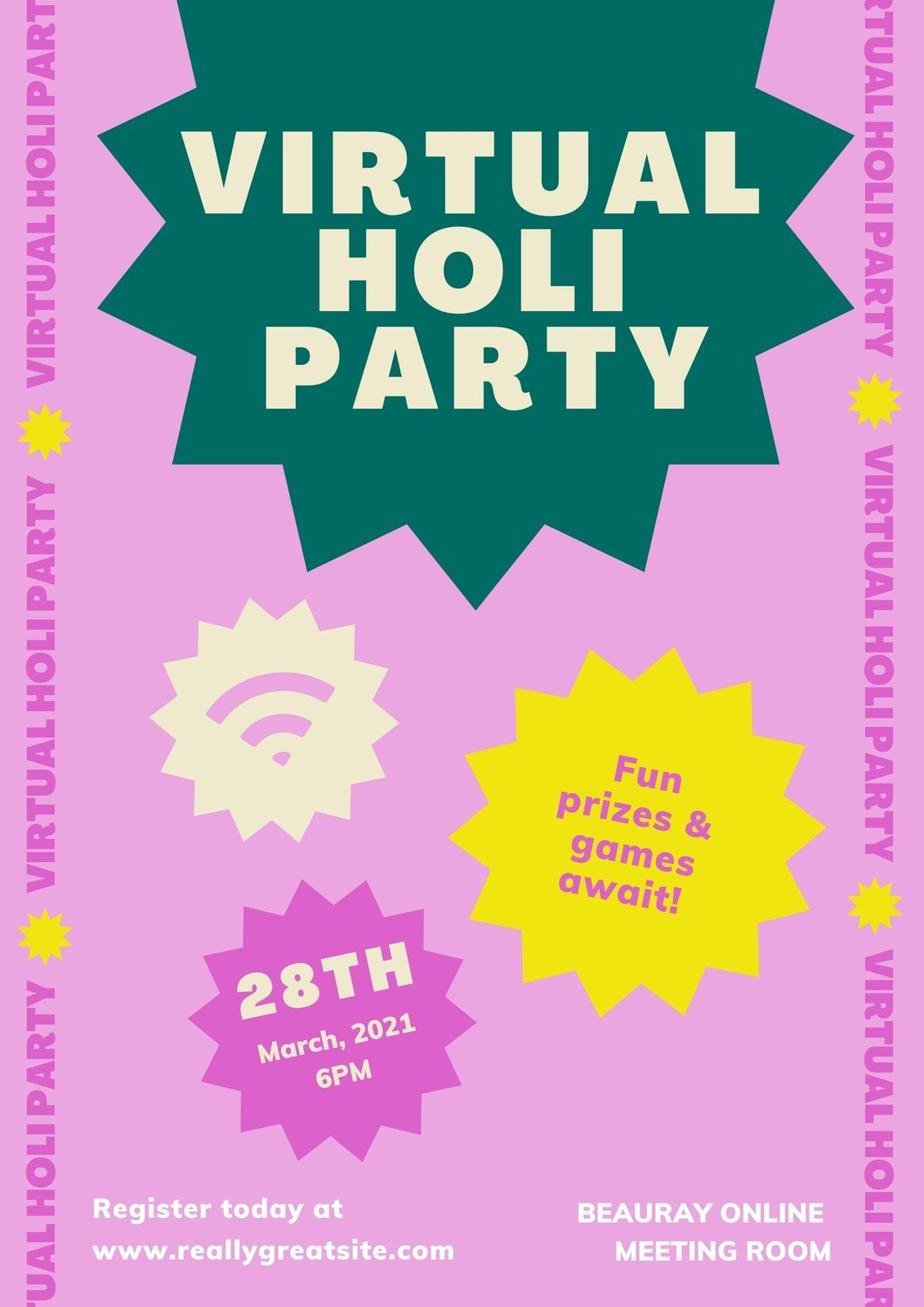Pink Green and Yellow Maximalist Holi Festival Business Event Poster