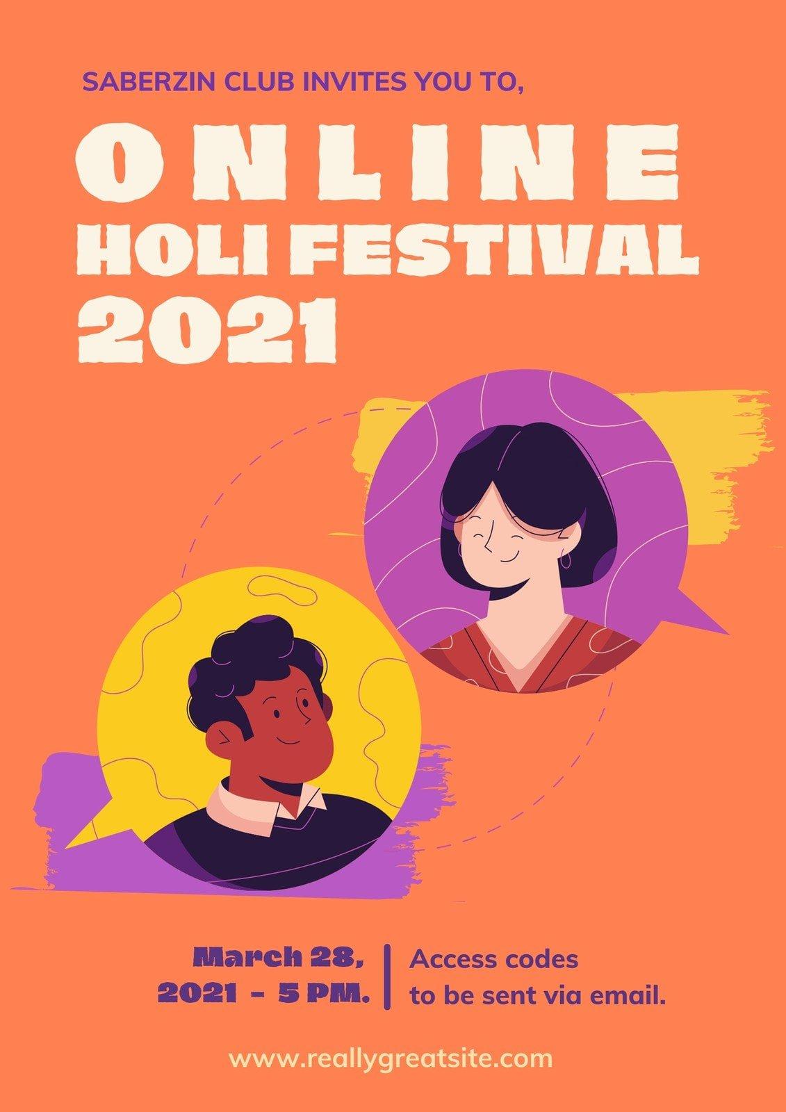 Orange Purple and Yellow Speech Bubble Maximalist Holi Festival Business Event Poster