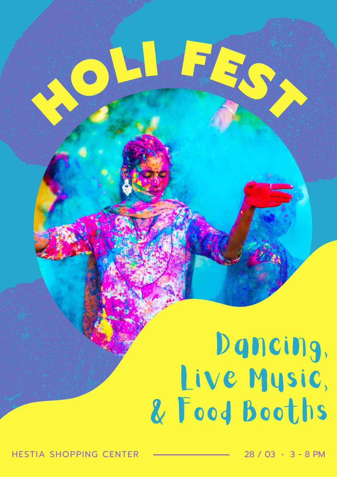 Blue and Yellow Freestyle Art Holi Festival Business Event Poster