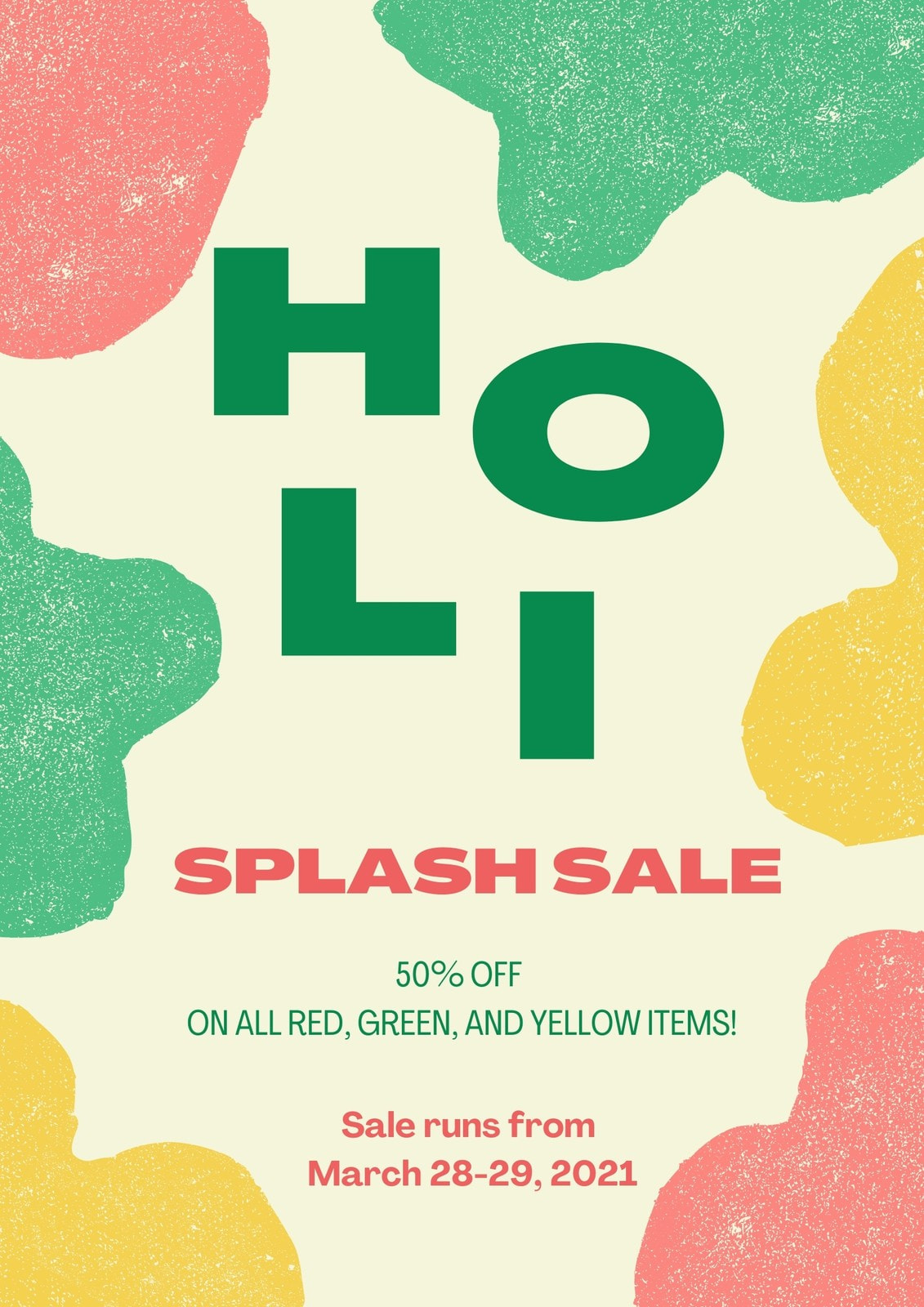 Green Yellow and Pink Freestyle Art Holi Festival Sale Business Poster