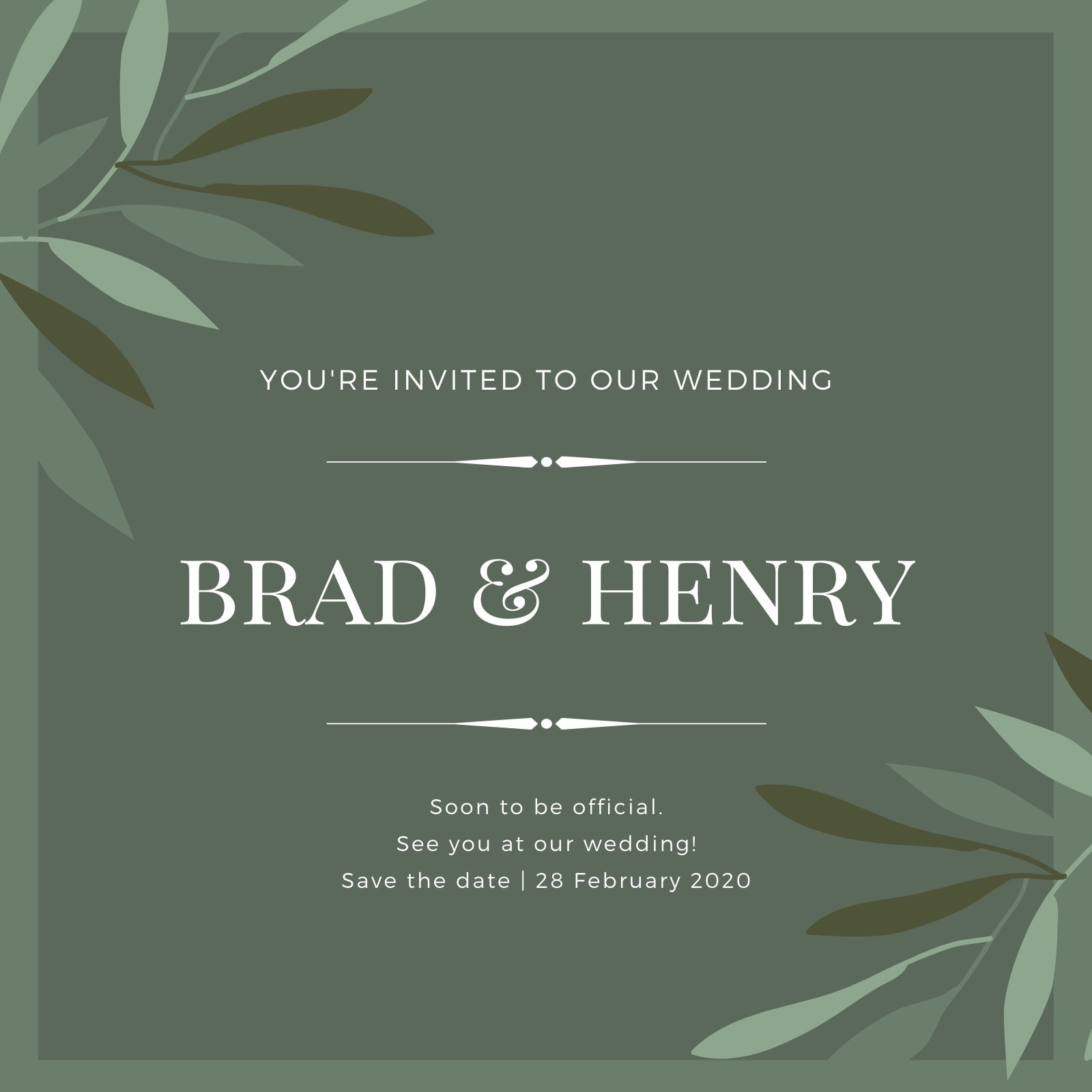 Olive Green and White Watercolor Leaves Gay Wedding Invitation