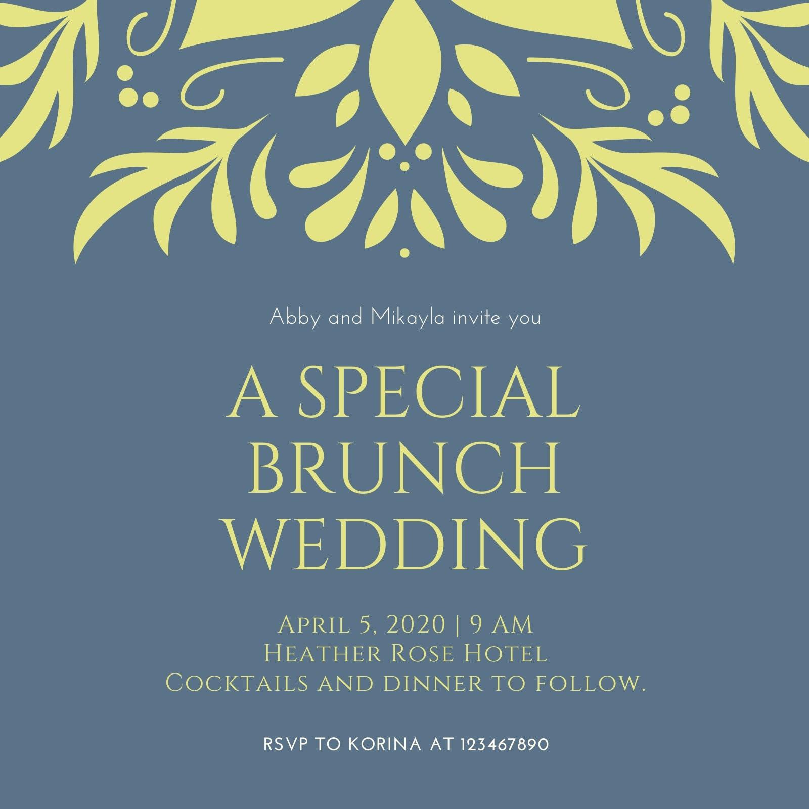 Blue and Green Decorative Lesbian Wedding Invitation