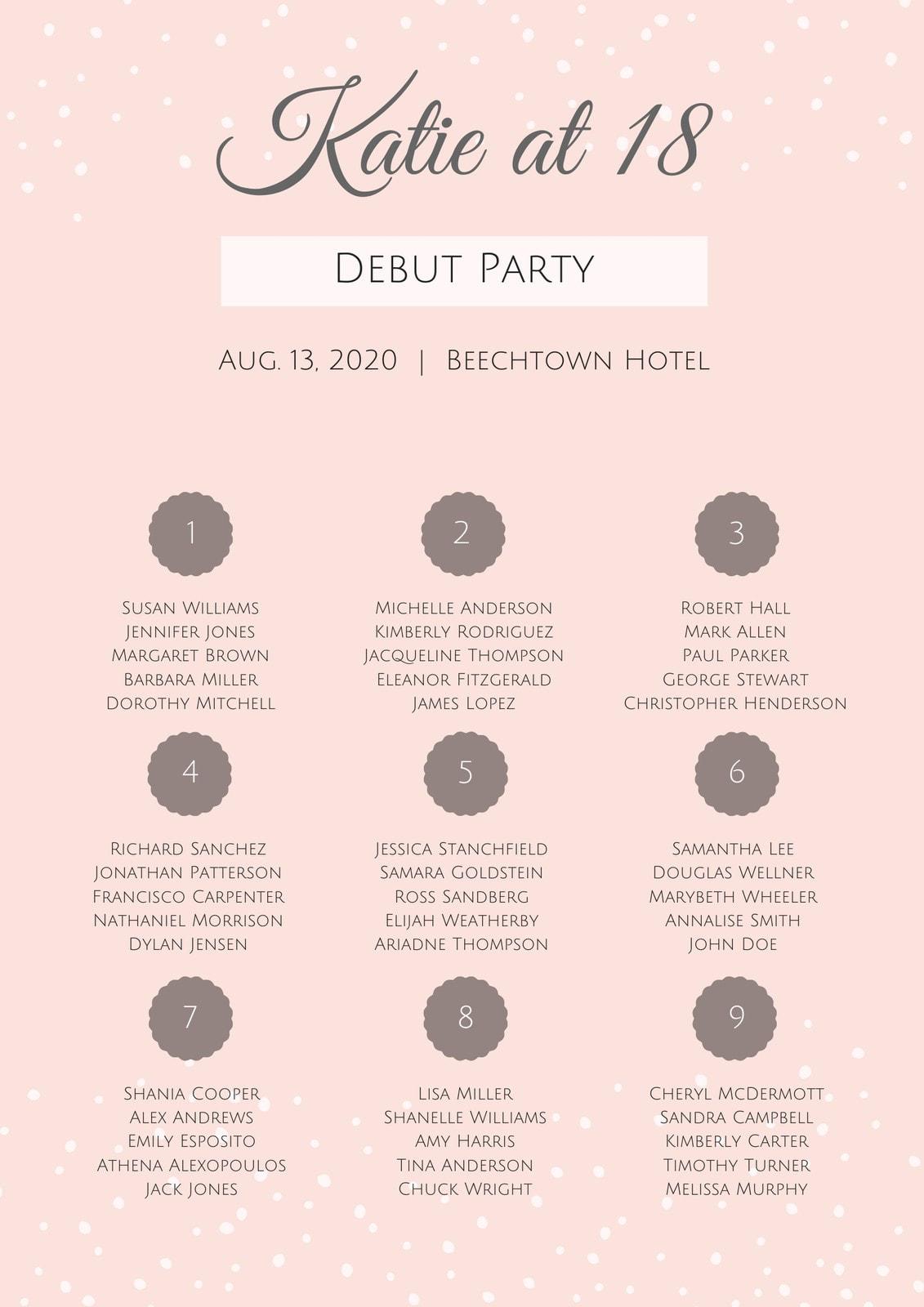 Pink Elegant Debut Seating Chart
