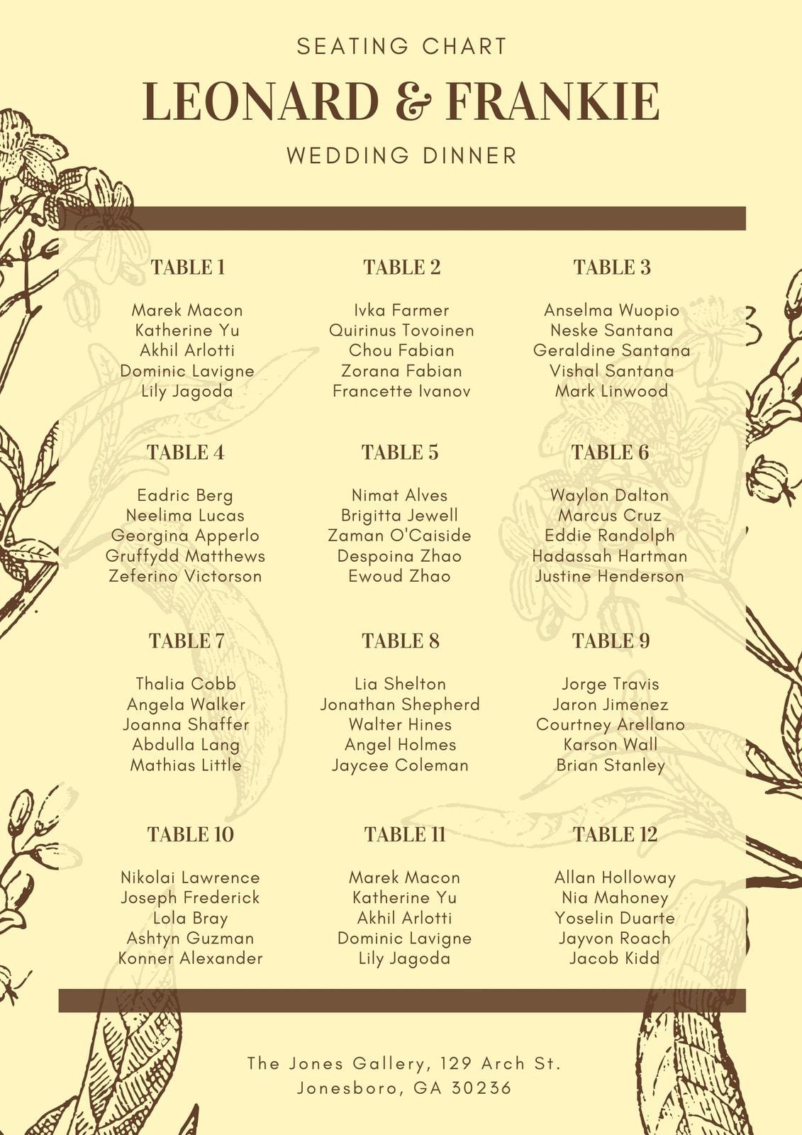 Brown Vintage Flower Wedding Seating Chart