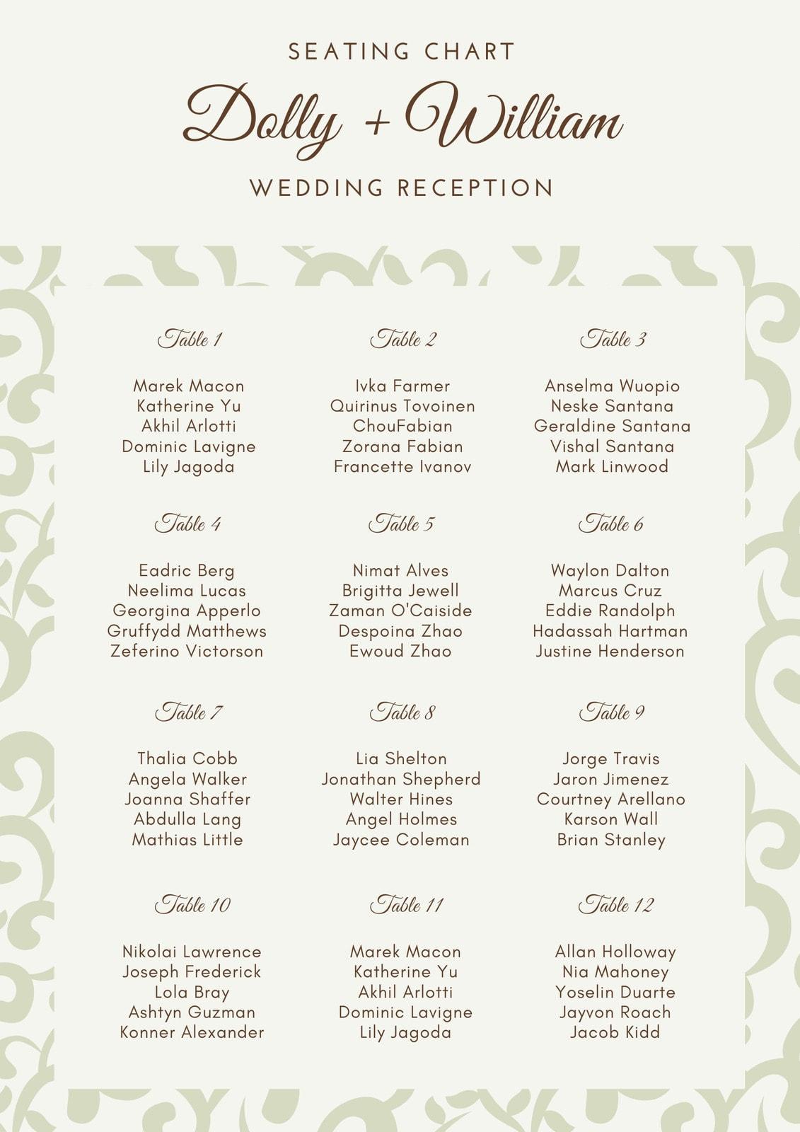 Elegant Pattern Wedding Seating Chart