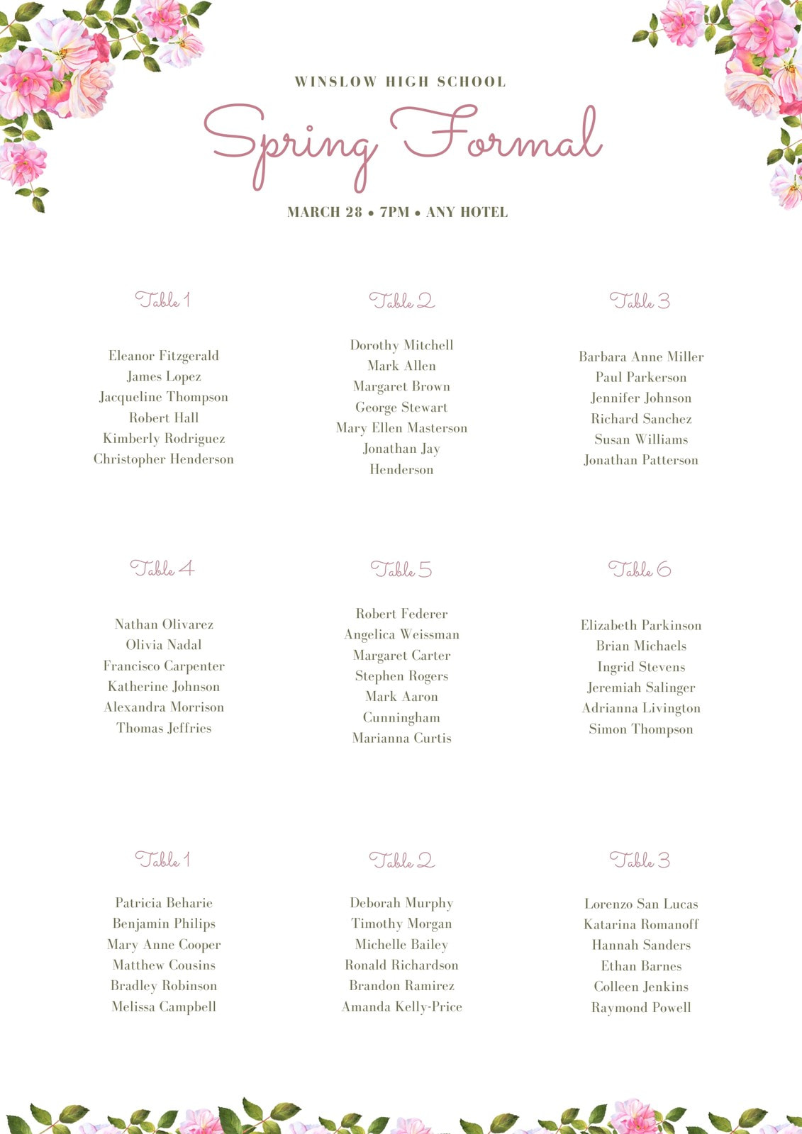 Pink Floral Seating Chart