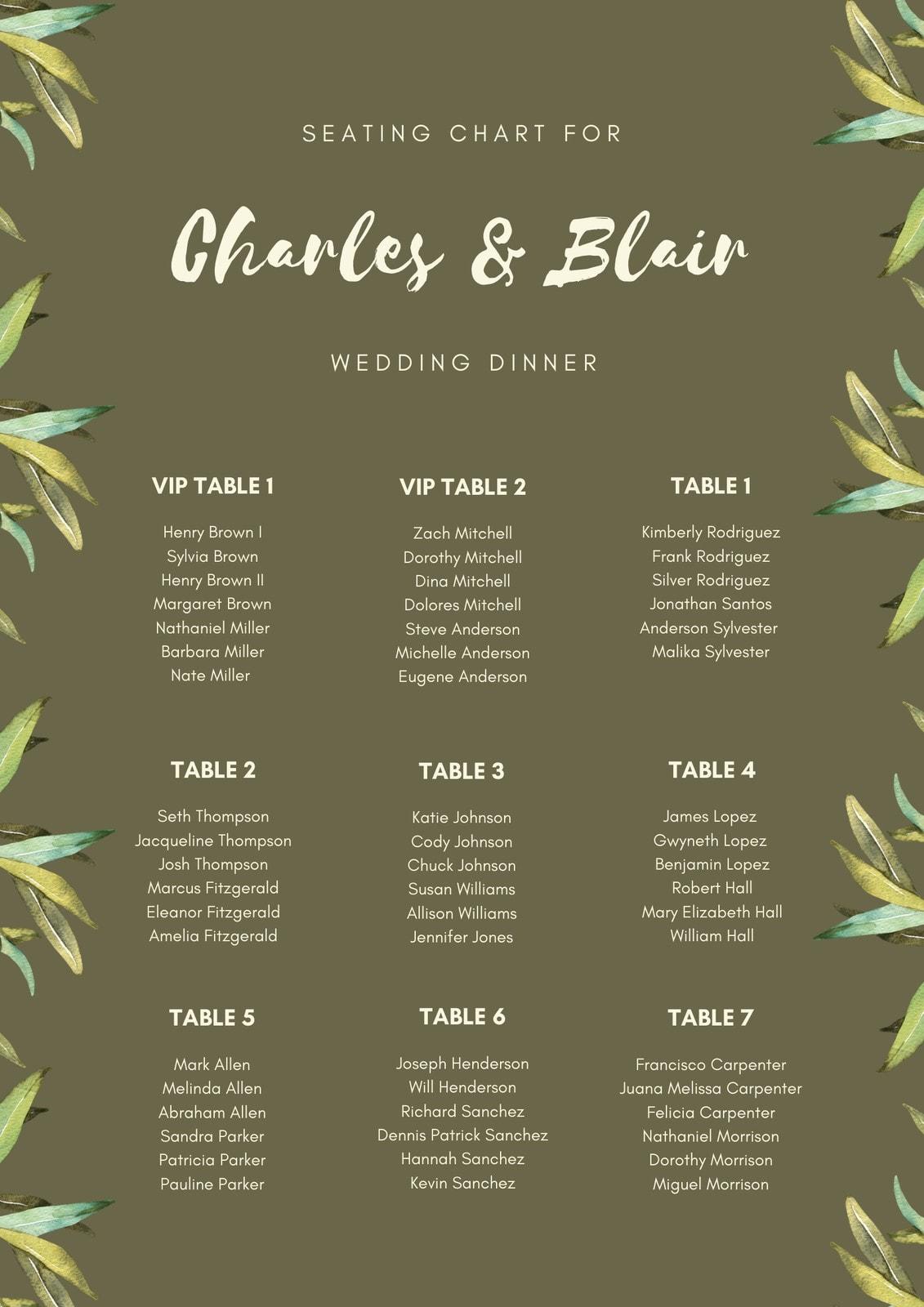 Hemlock Leaves Wedding Seating Chart