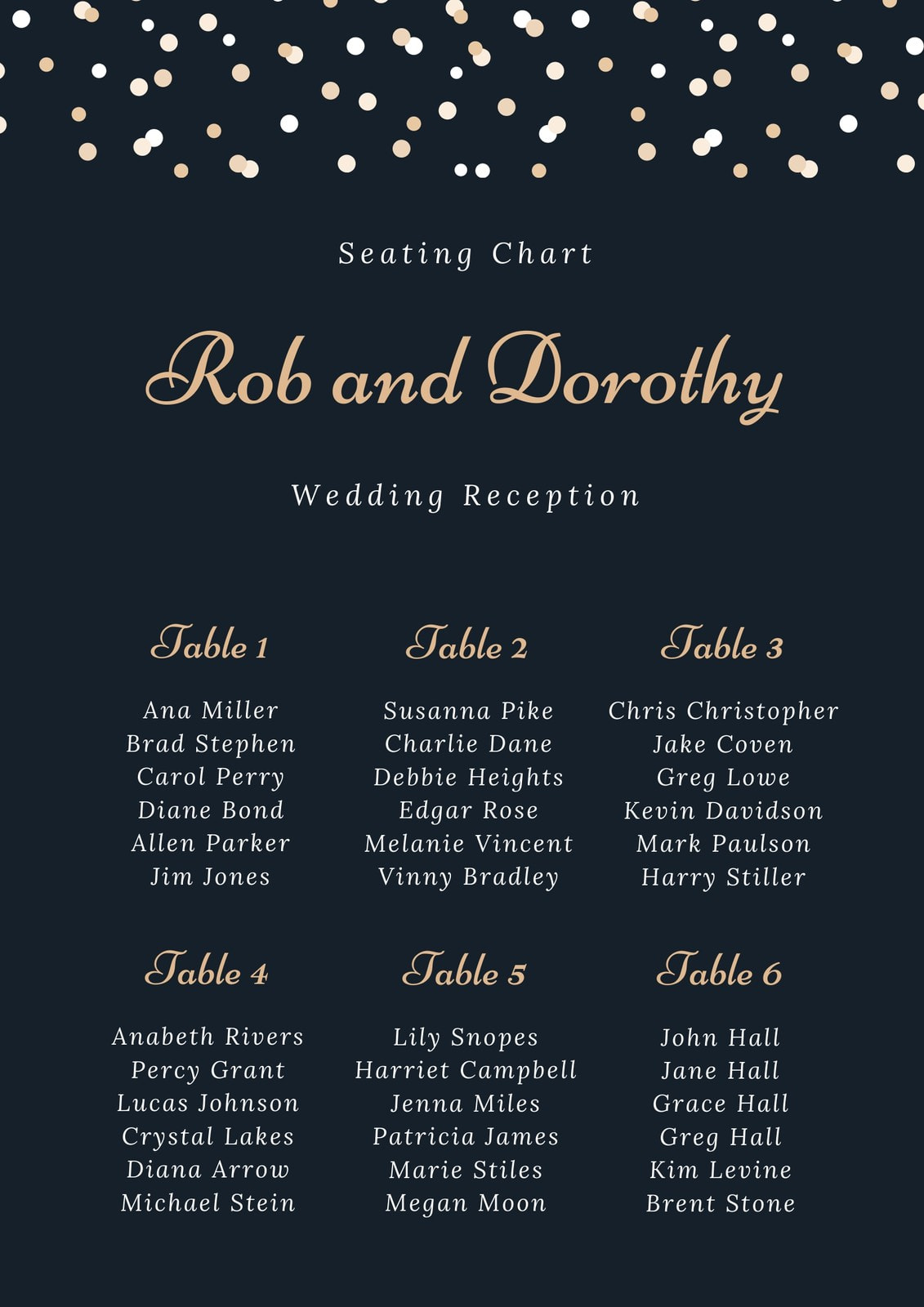 Tan Confetti Wedding Seating Chart