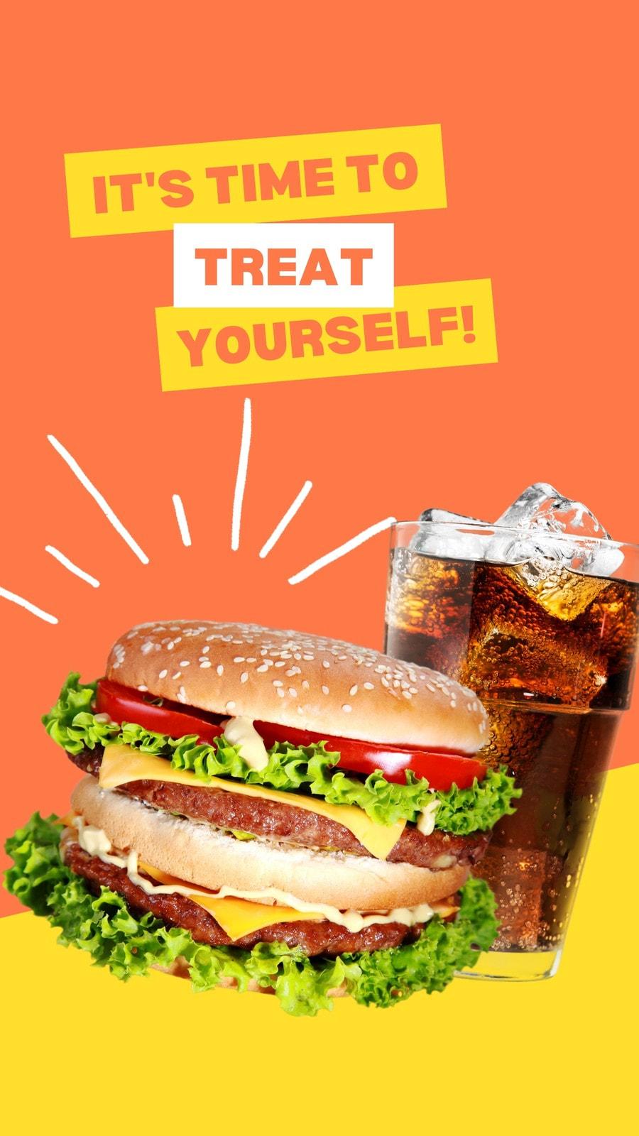 Orange and Yellow Burger Typographic Food TikTok Video Ad