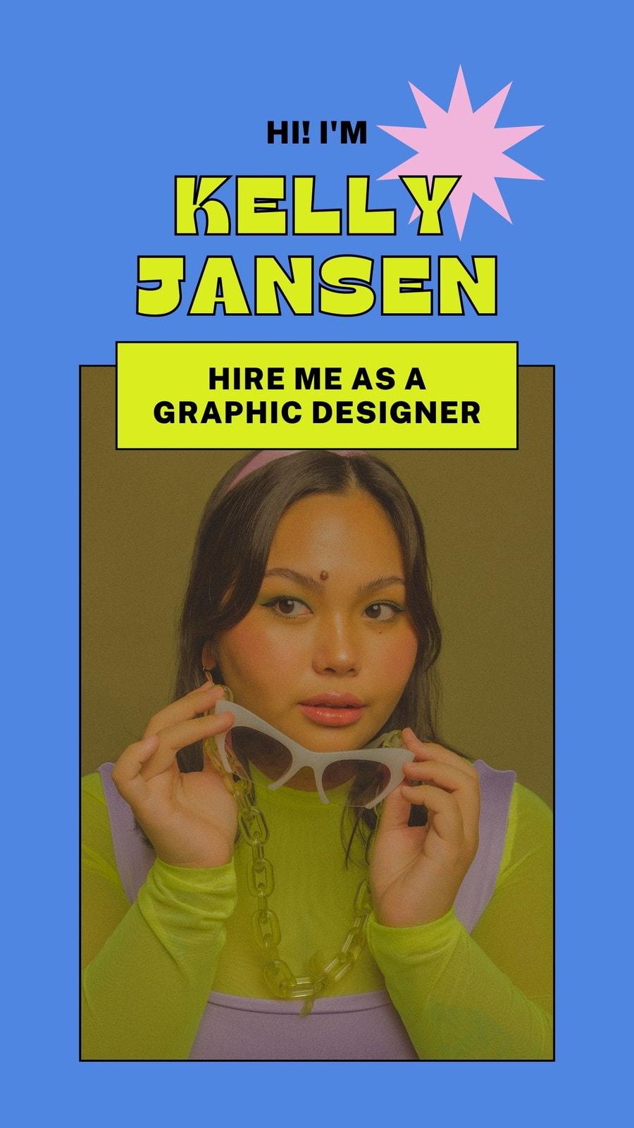 Blue Pink Bright Outline College Graduate Job Seeker Graphic Designer Digital Video Resume Tiktok Video