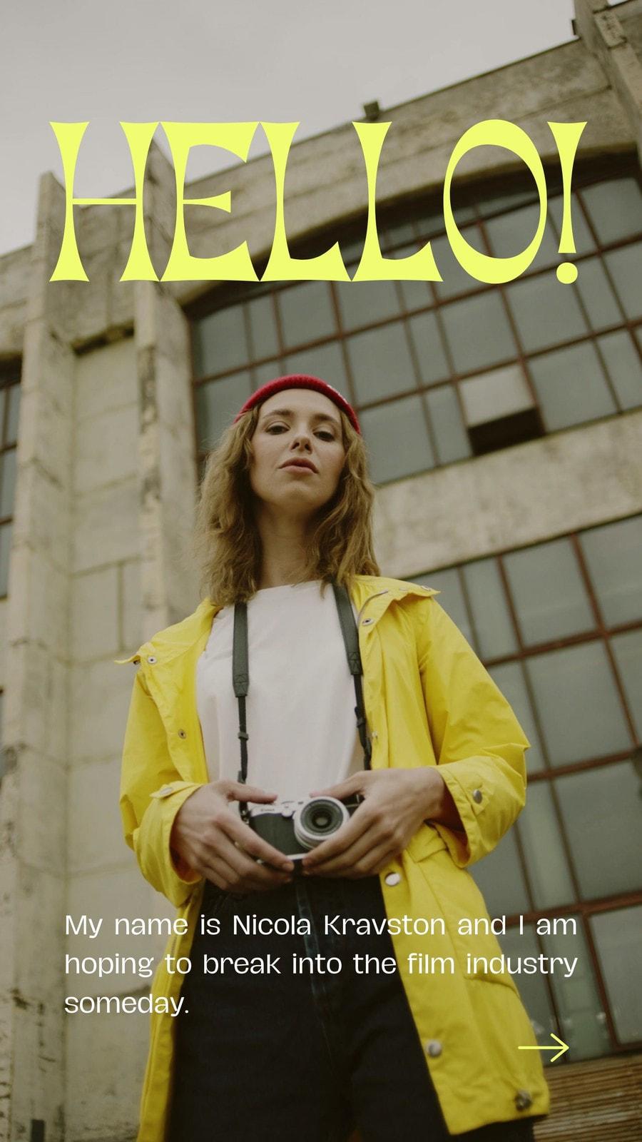 Yellow Brown Modern Photo-centric College Graduate Job Seeker Film Industry Digital Video Resume Tiktok Video