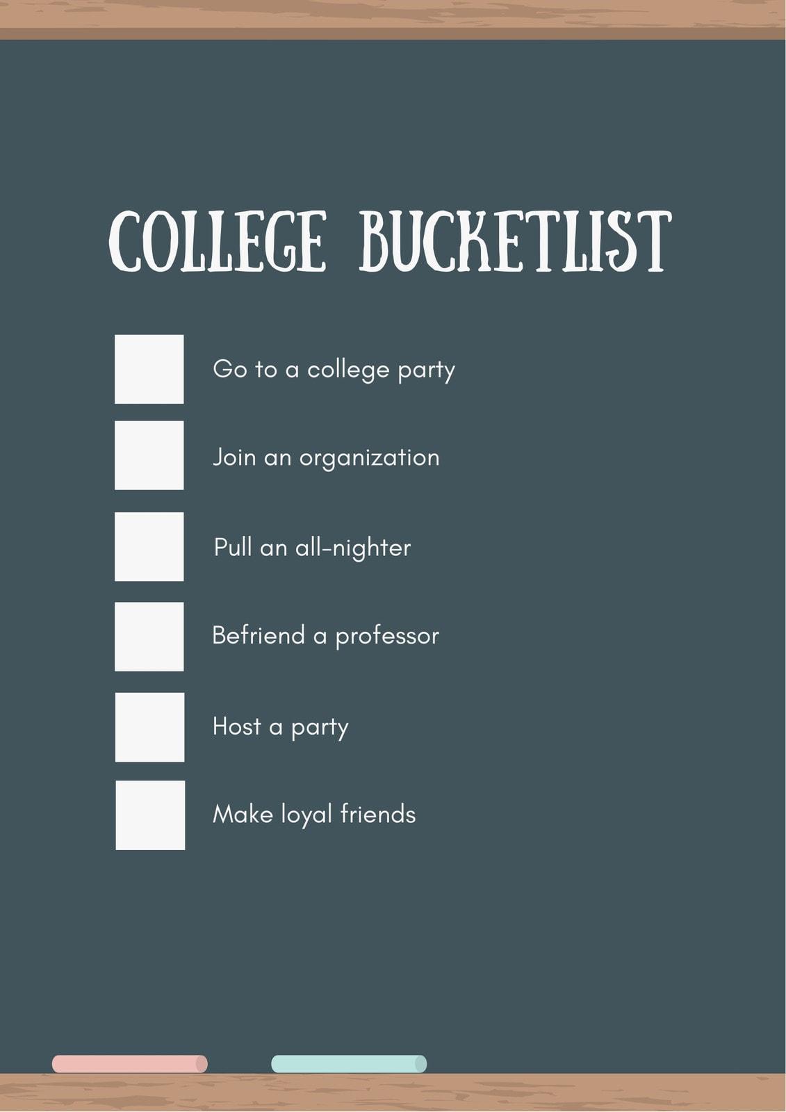 White and Green Blackboard College Checklist