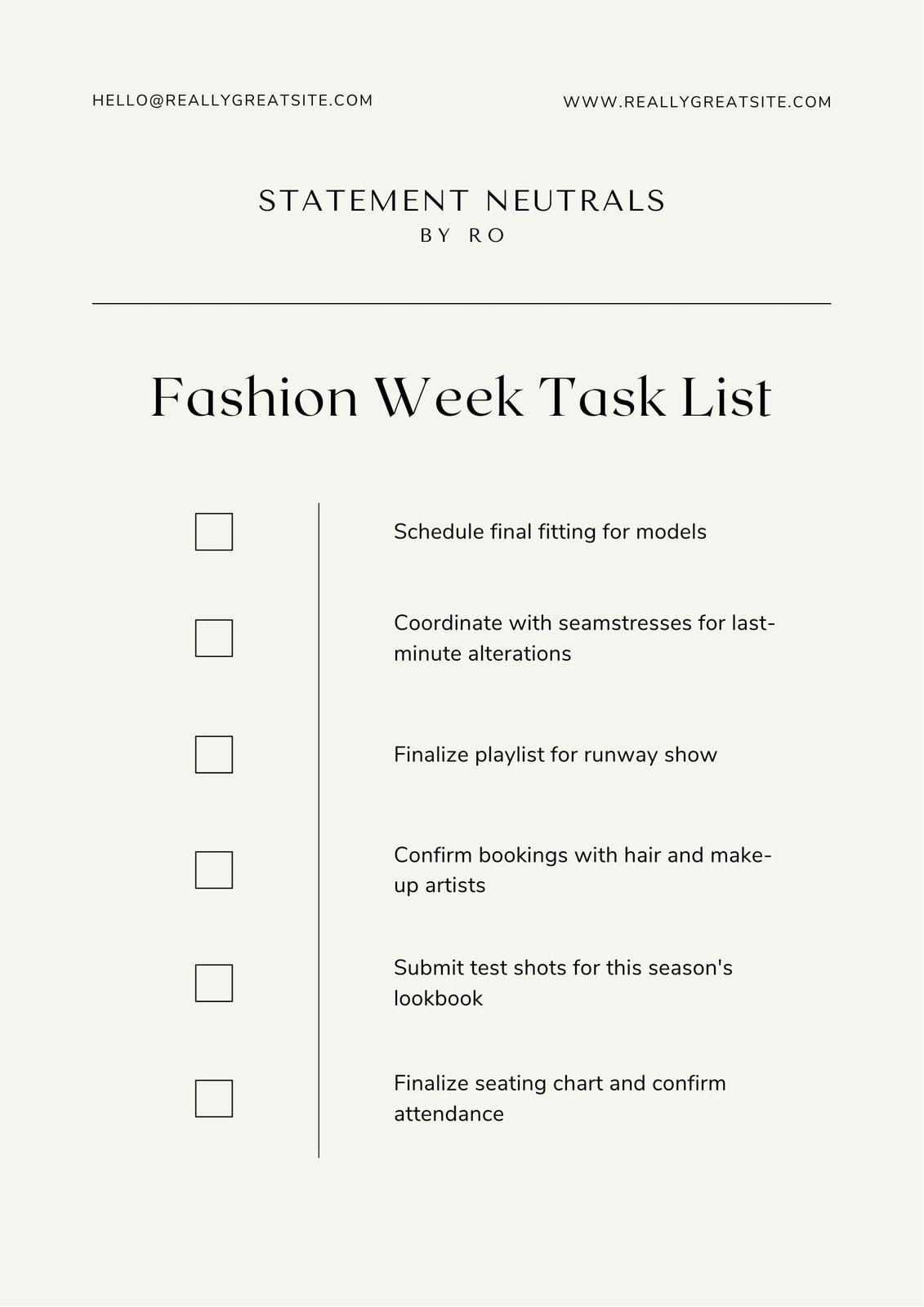 Black and Beige Minimalist Online Fashion Brand Checklist