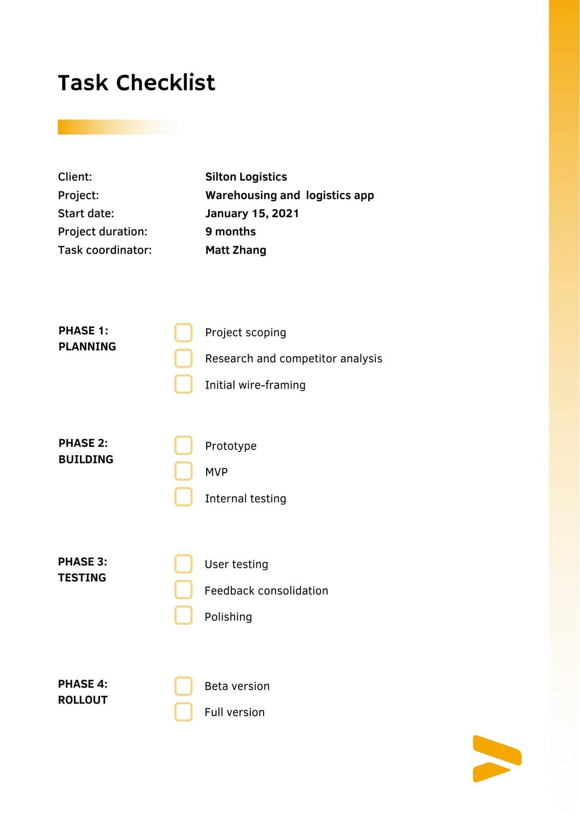 Yellow Professional Gradient App Development Checklist