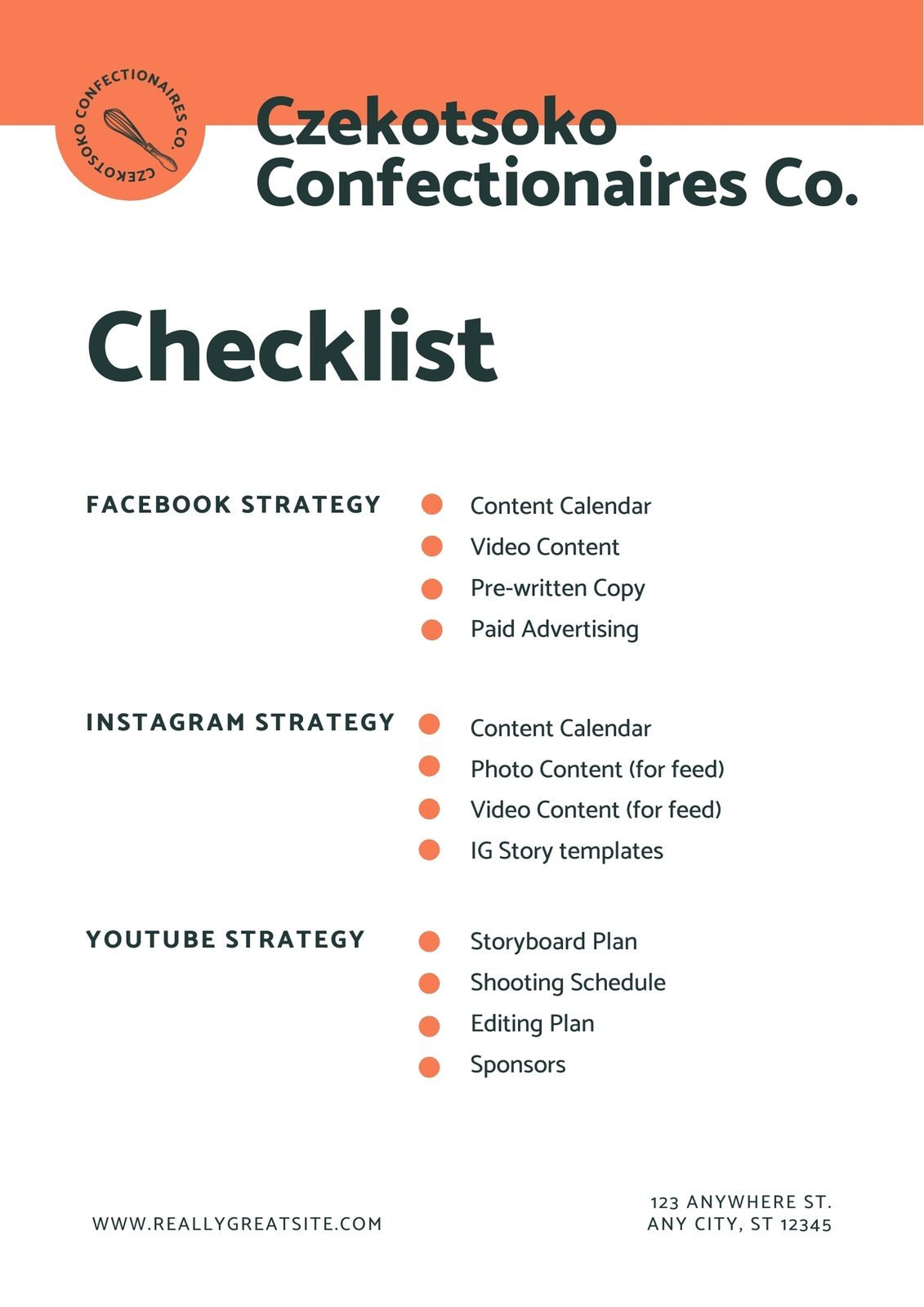 Orange and White Bold & Bright Home-based Food Business Checklist