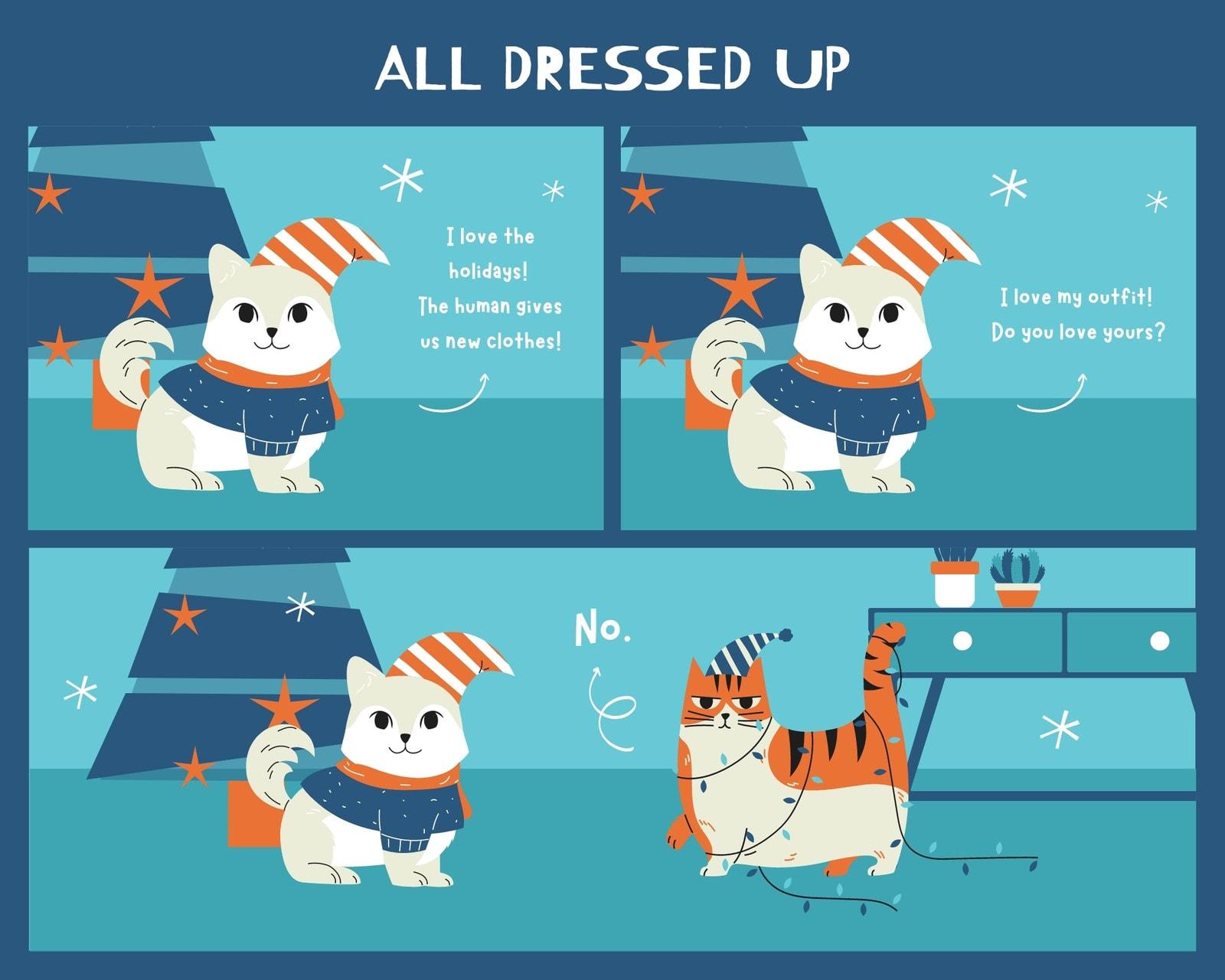 Blue and Orange Christmas Animal 3 Panel Comic Strip