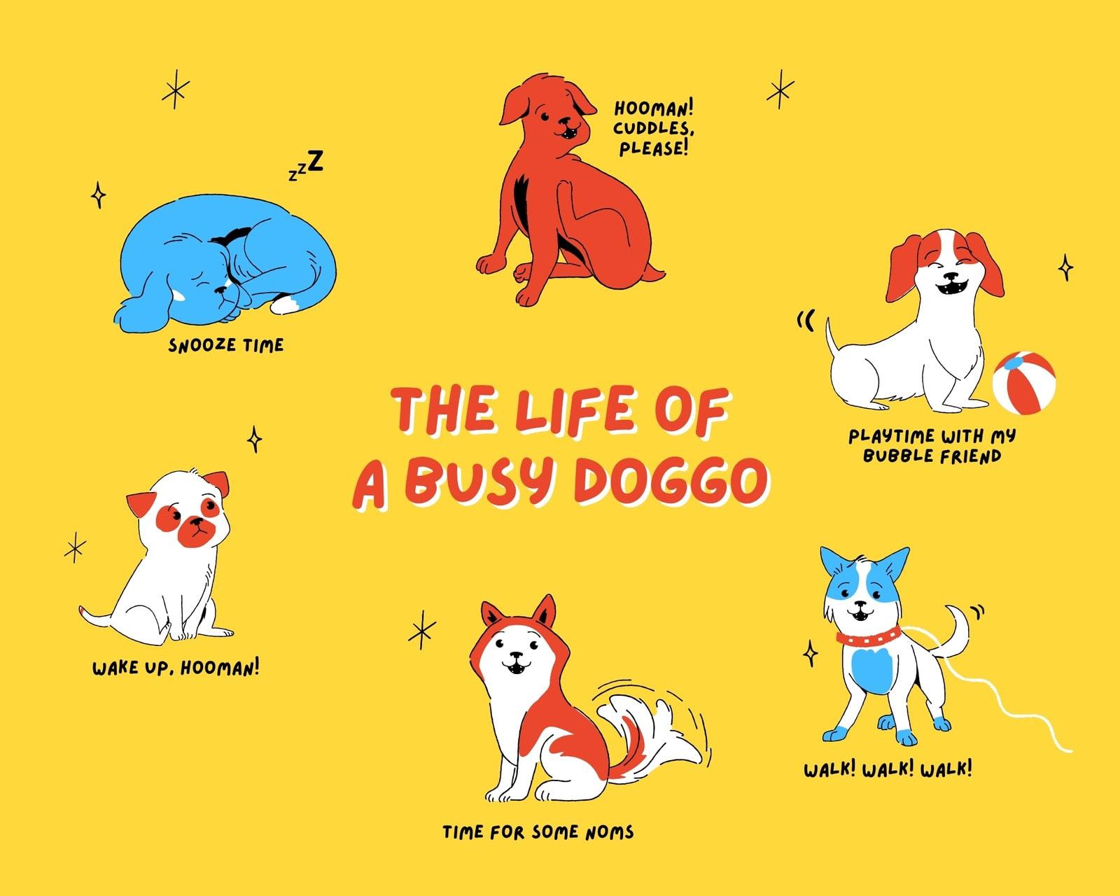 Yellow Blue Red Dog 1 Panel Enumeration Comic Strip