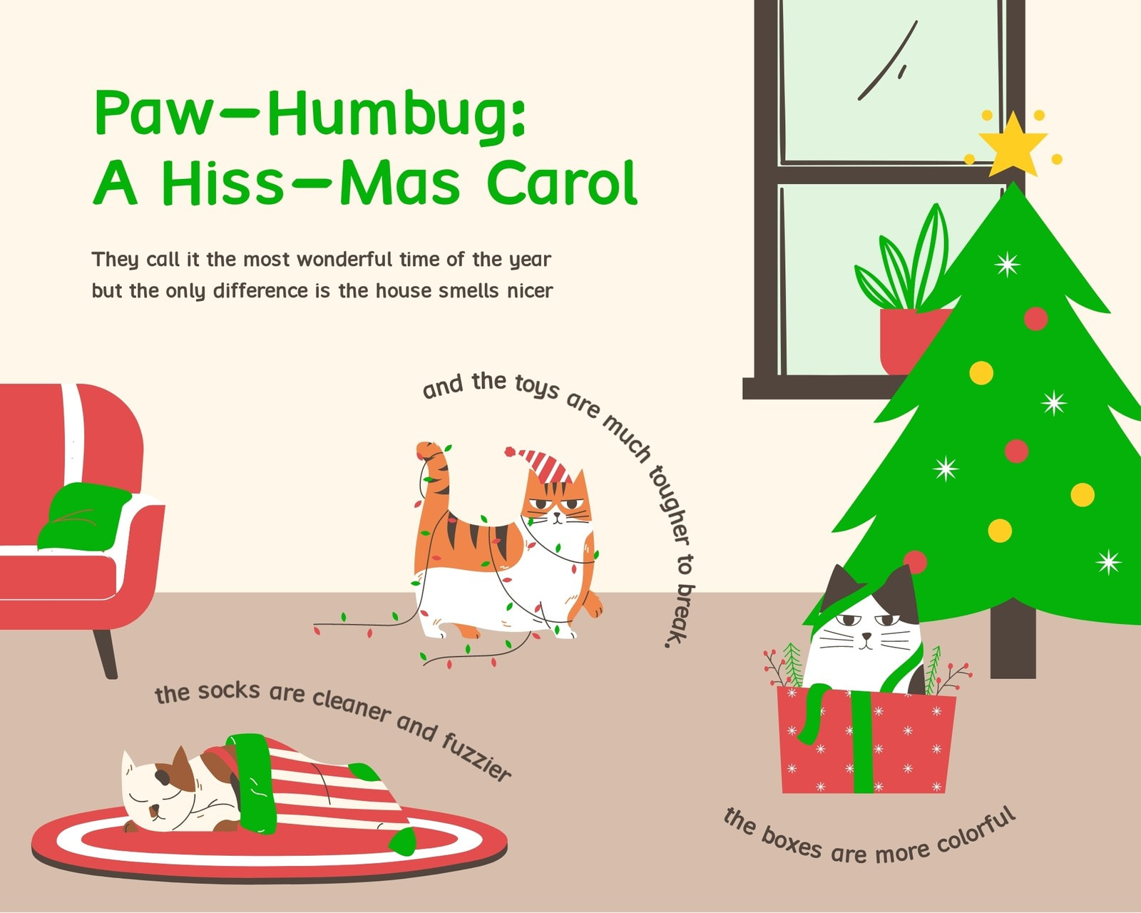 Red and Green Cat Christmas 1 Panel Comic Strip