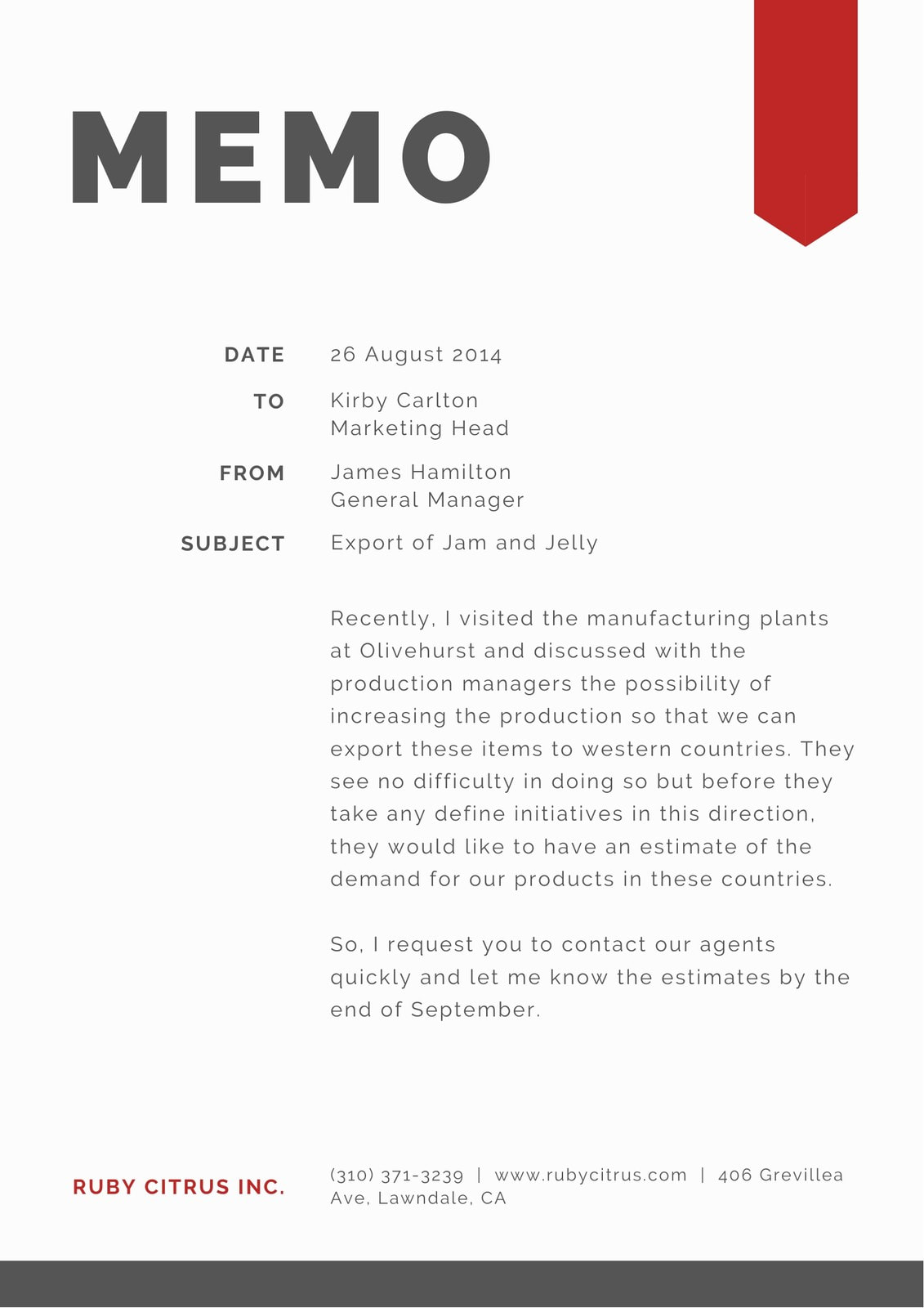 Simple Black White and Red General Corporate Memo