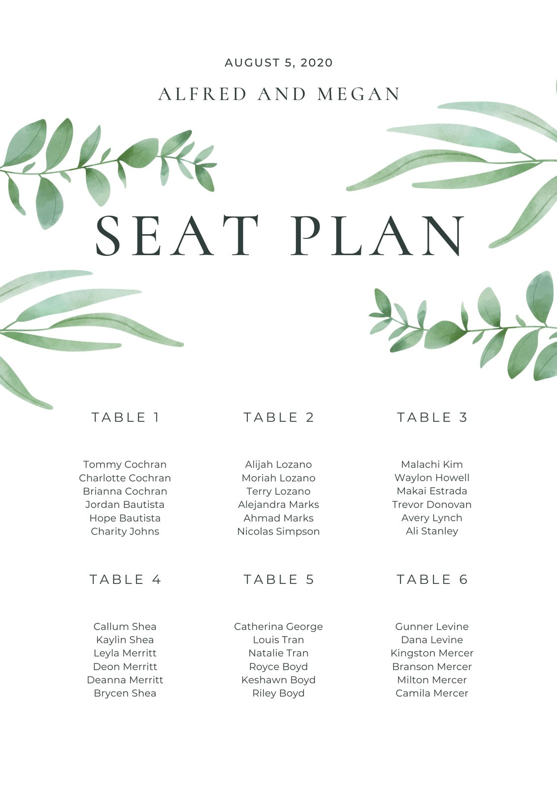 Green Leaves Border Rustic Floral Wedding Seating Chart