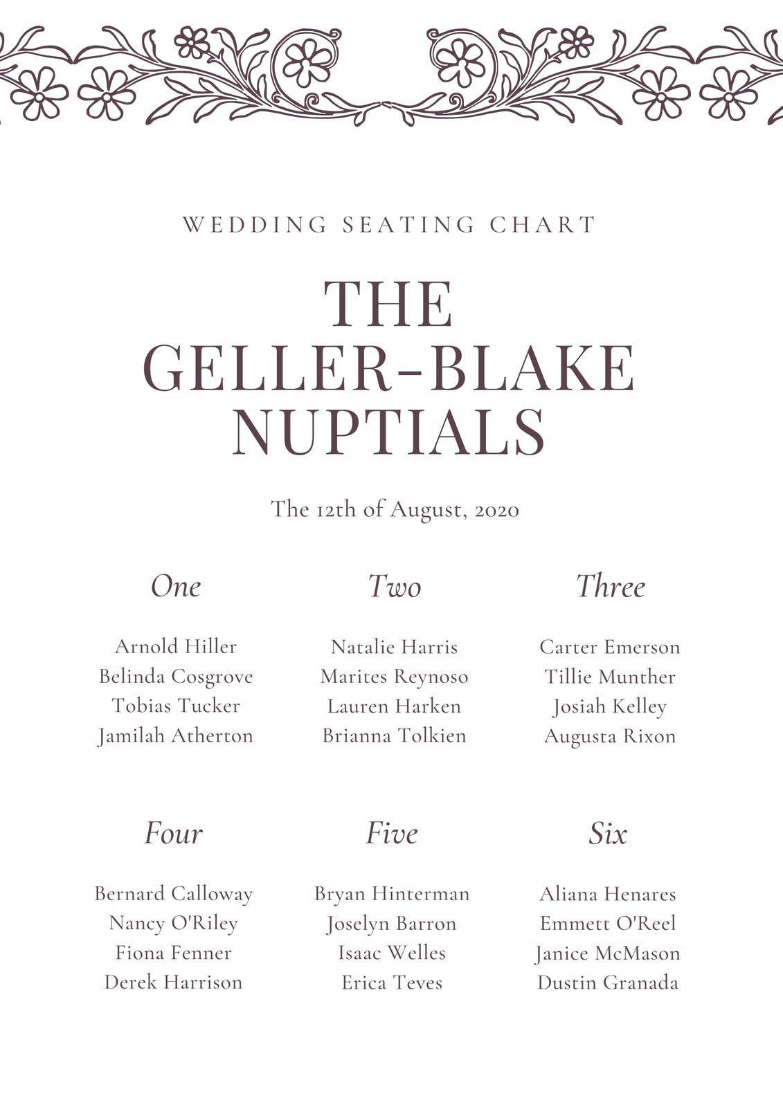 White and Black Bordered Vintage Illustration Wedding Seating Chart