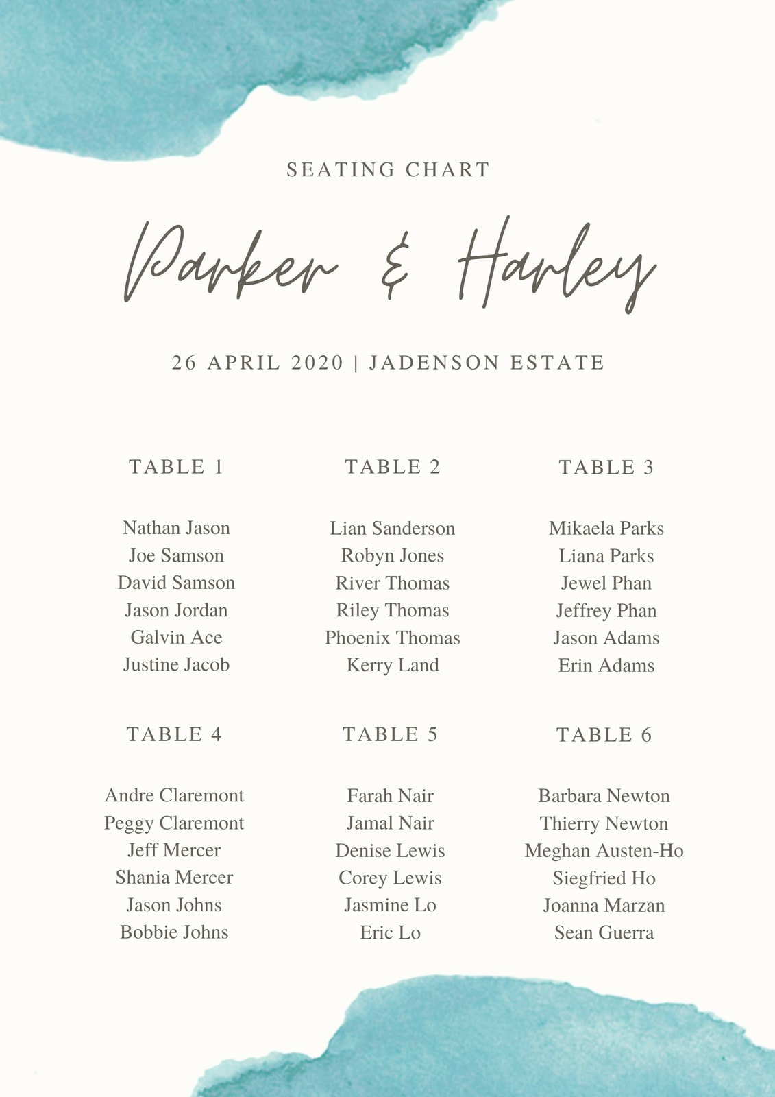 Green Watercolor Flowy Script Style Wedding Seating Chart