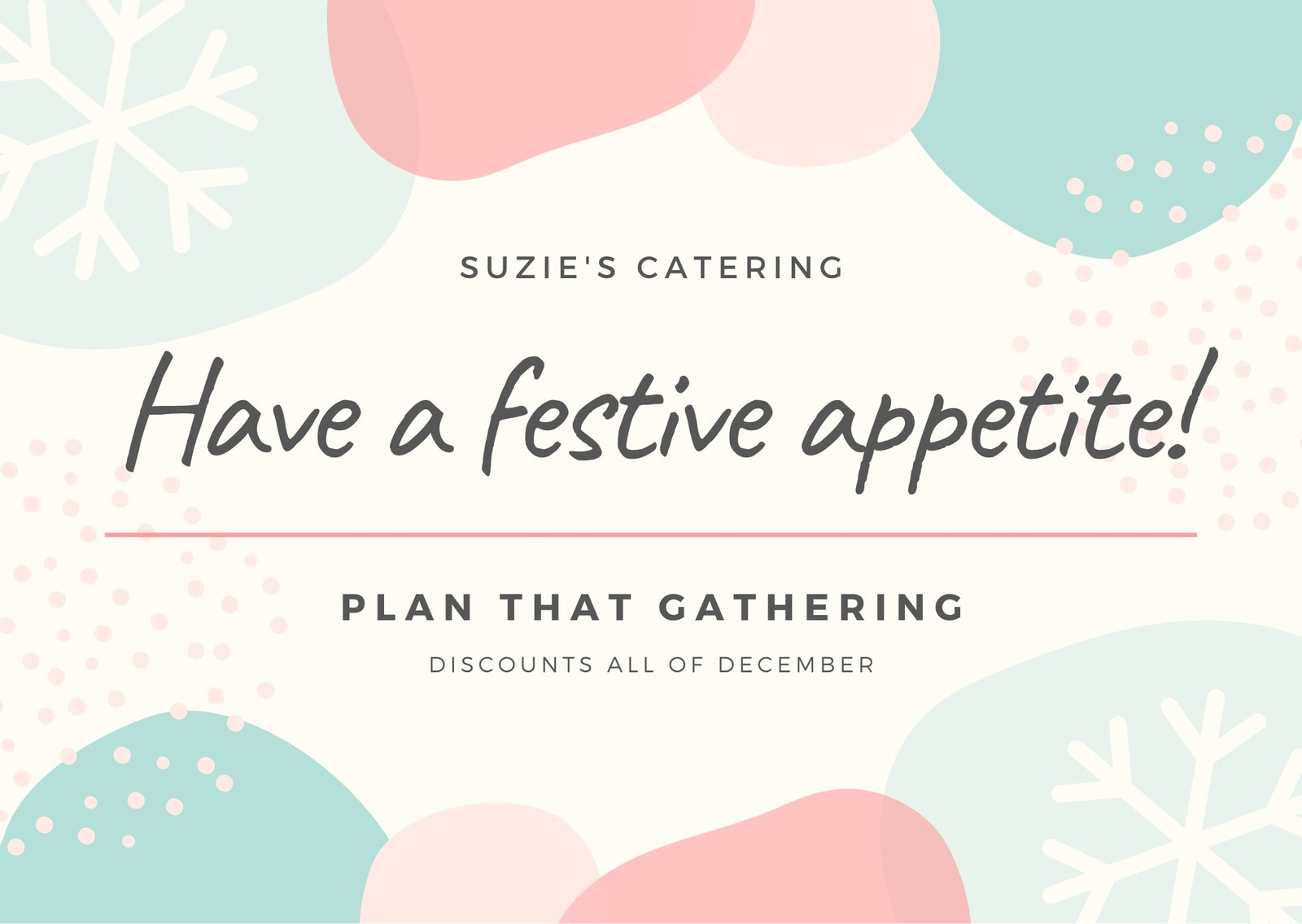 Pastel Pink and Blue Colorful Festive Catering Postcard