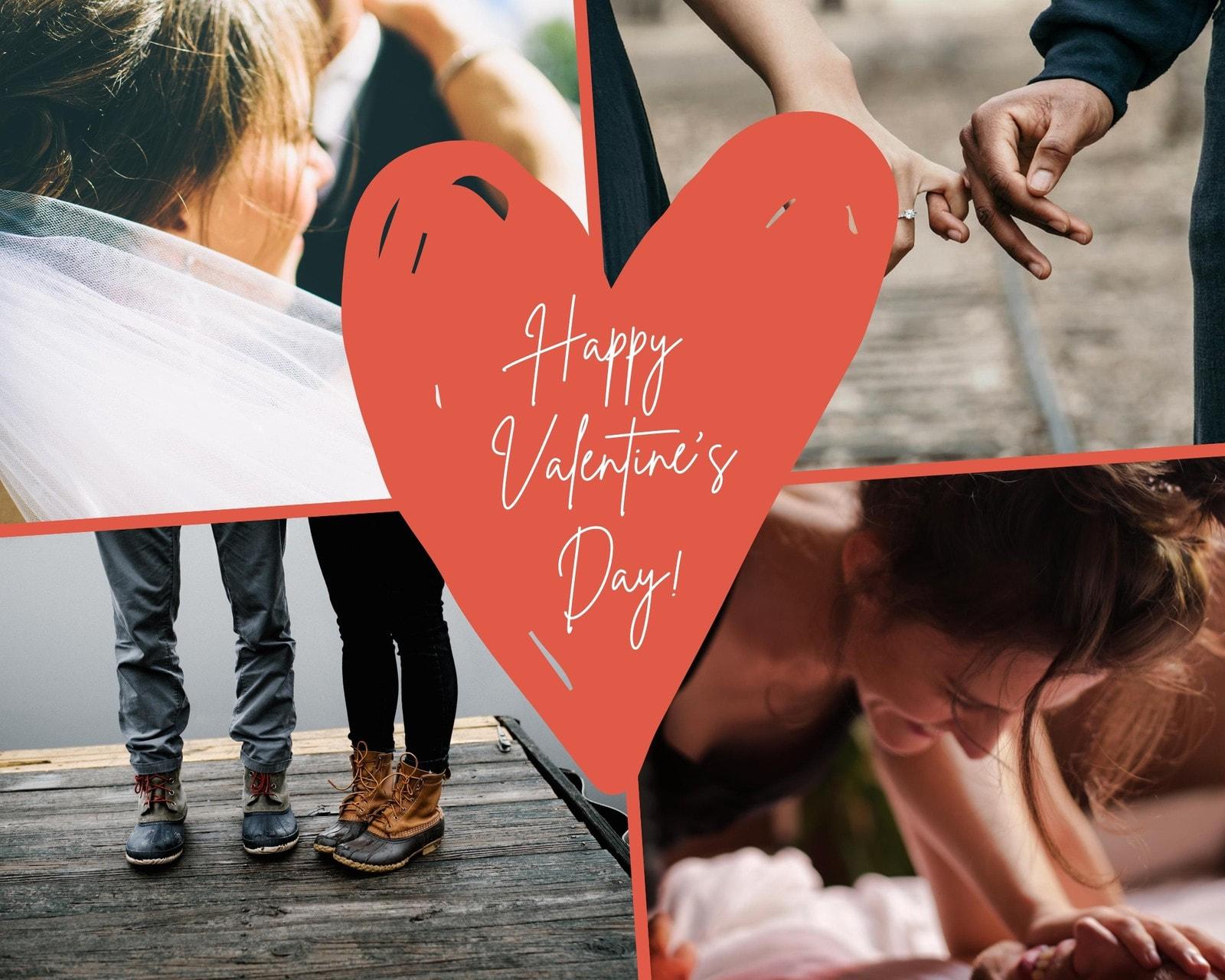Red Heart Monochrome Photo Valentine's Day Photo Collage