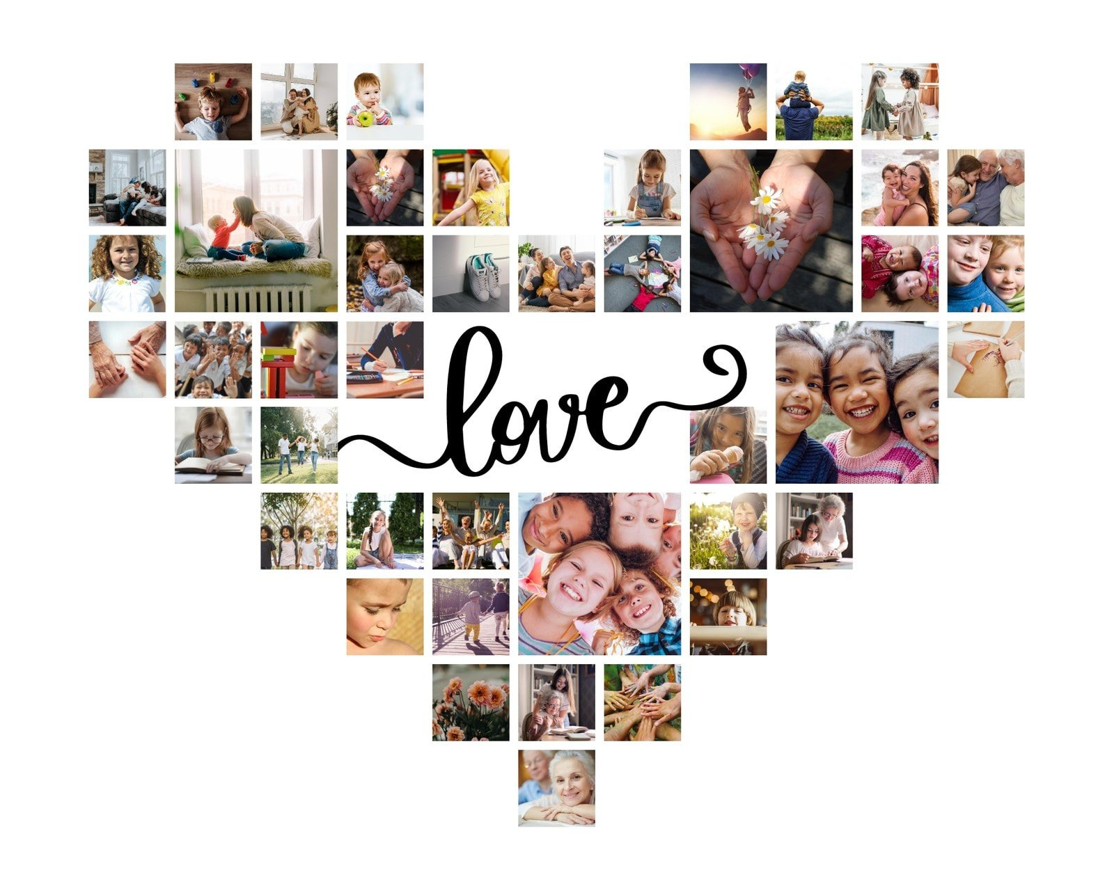 White Love Heart-Shaped Photo Collage