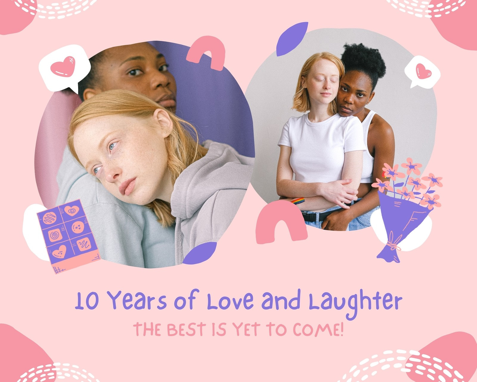 Pink and Purple Organic Illustrations Couple Love Animated Photo Collage