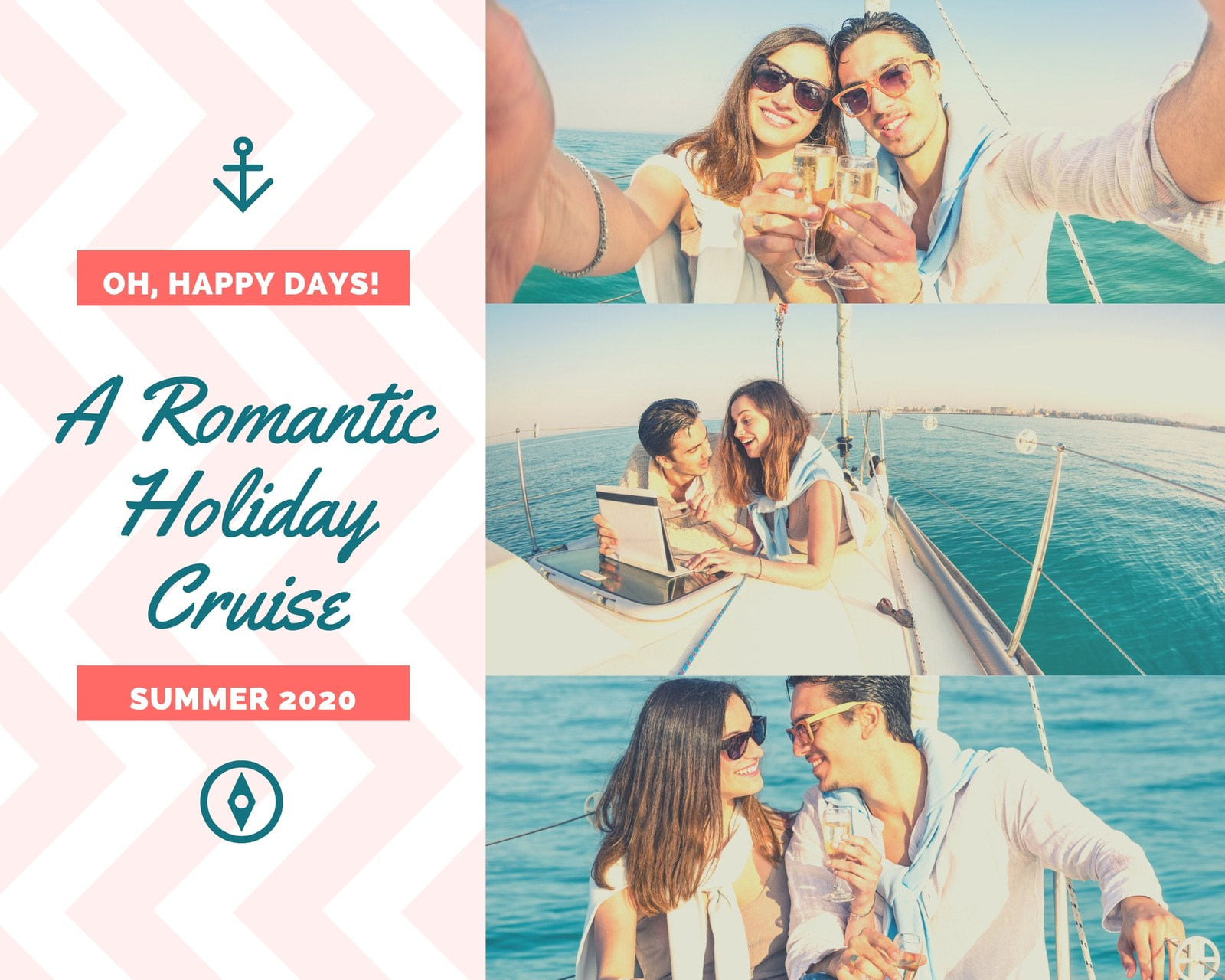 Holiday Sailing Couple Love Photo Collage