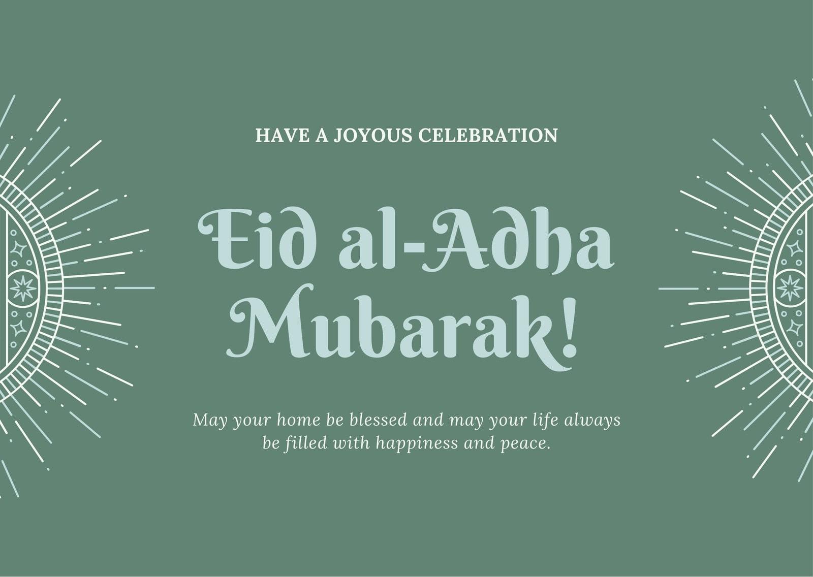 Green Brown Simple Eid al-Fitr Card