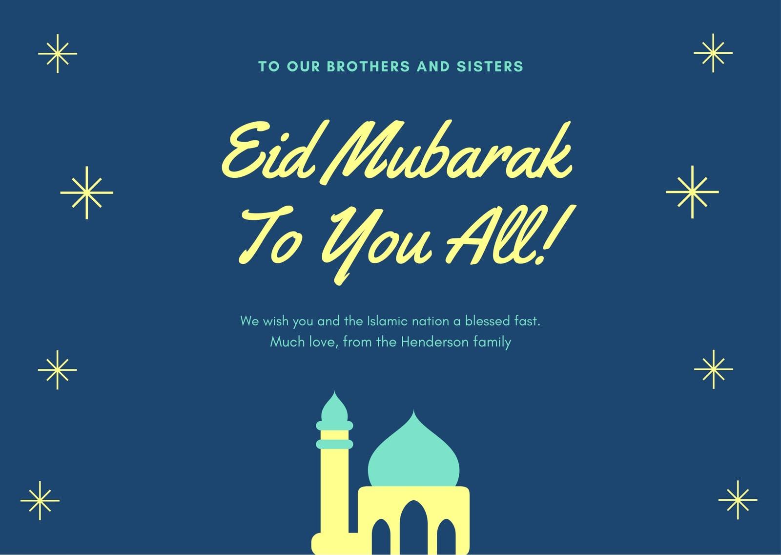 Blue Mosque Illustration Eid Al-Fitr Card