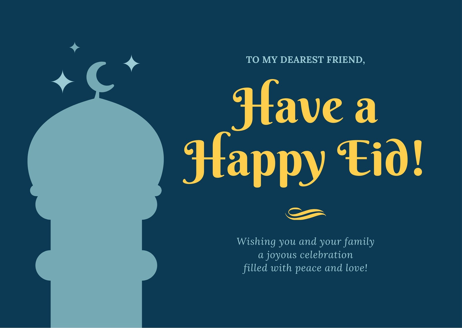Blue and Yellow Mosque Eid al-Fitr Card