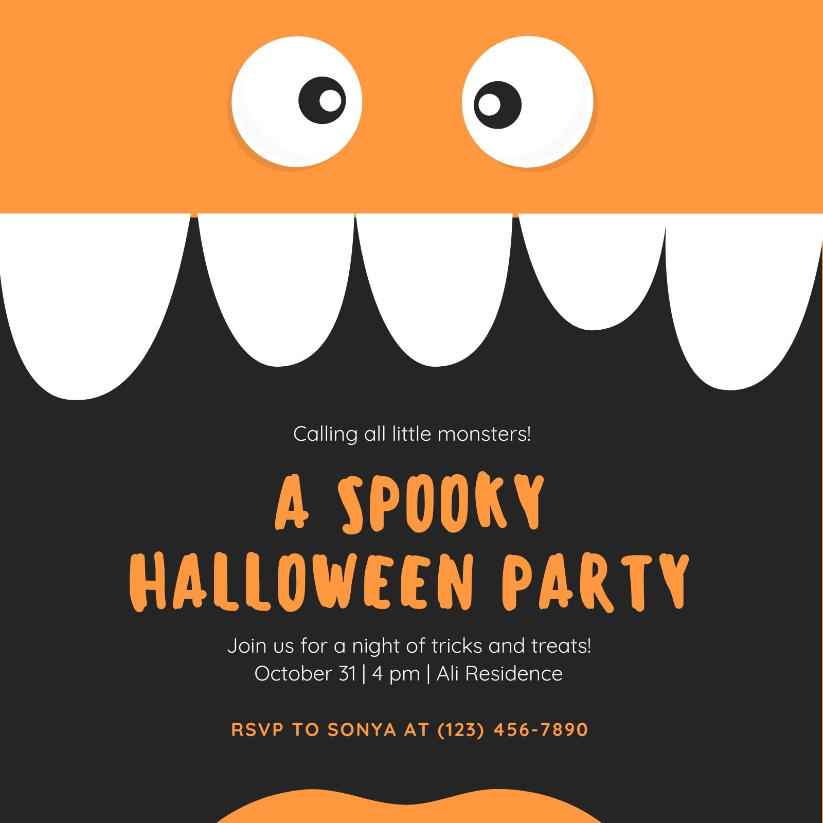 Black Monster Themed Kids Party Halloween Invitation