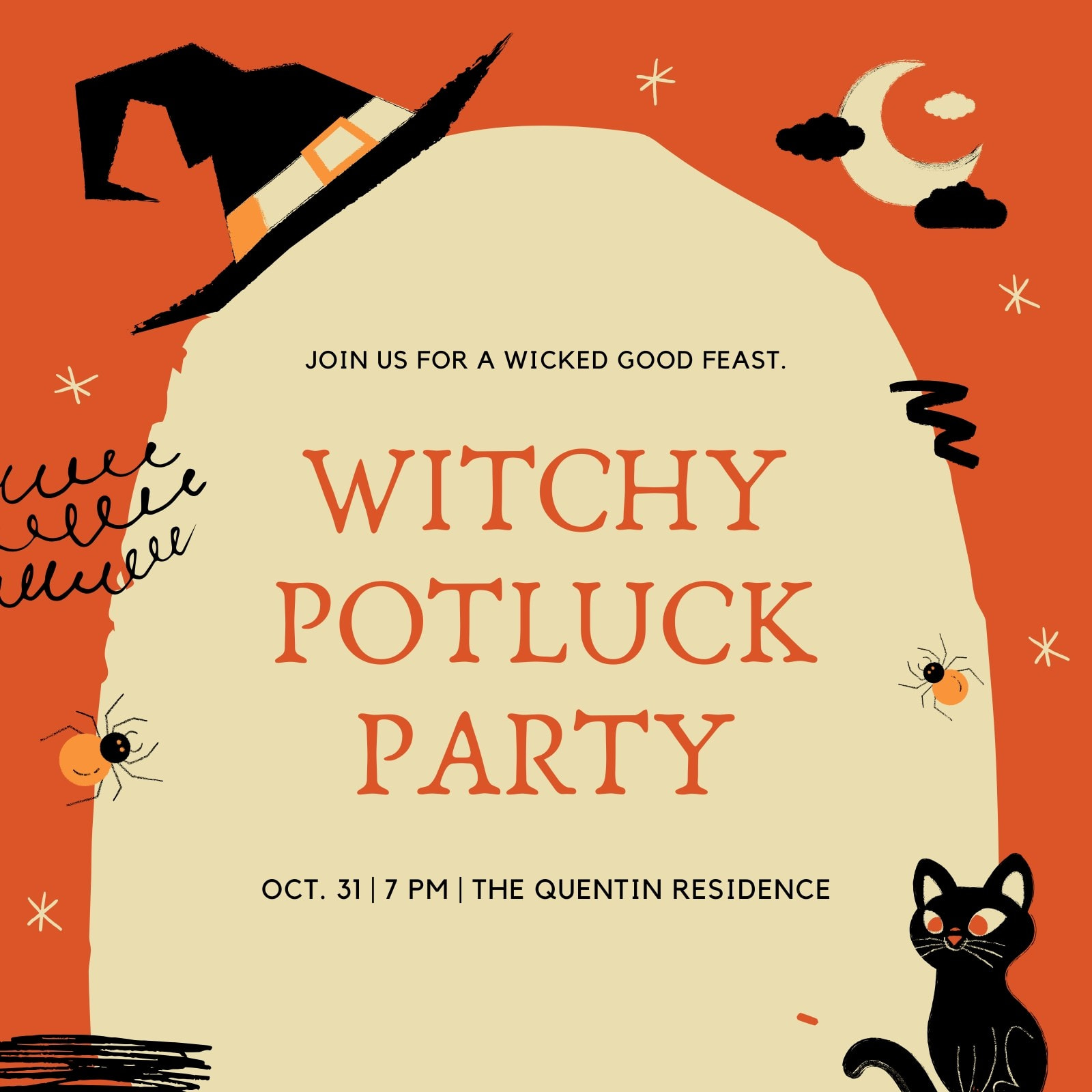 Orange and Yellow Witchy Hand-drawn Playful Halloween Potluck / Block Party Invitation